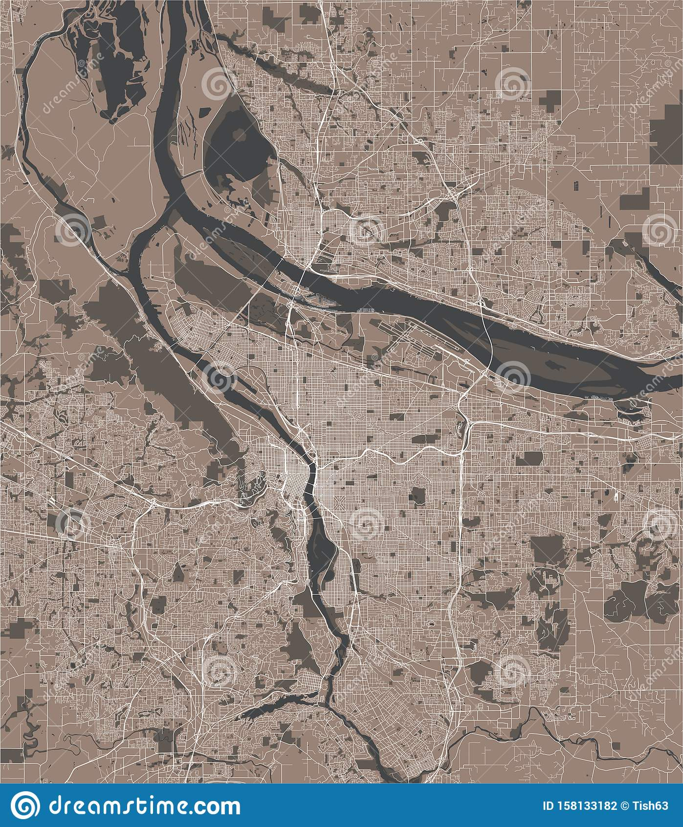 Map Of The City Of Portland, Oregon, USA Stock Illustration ...