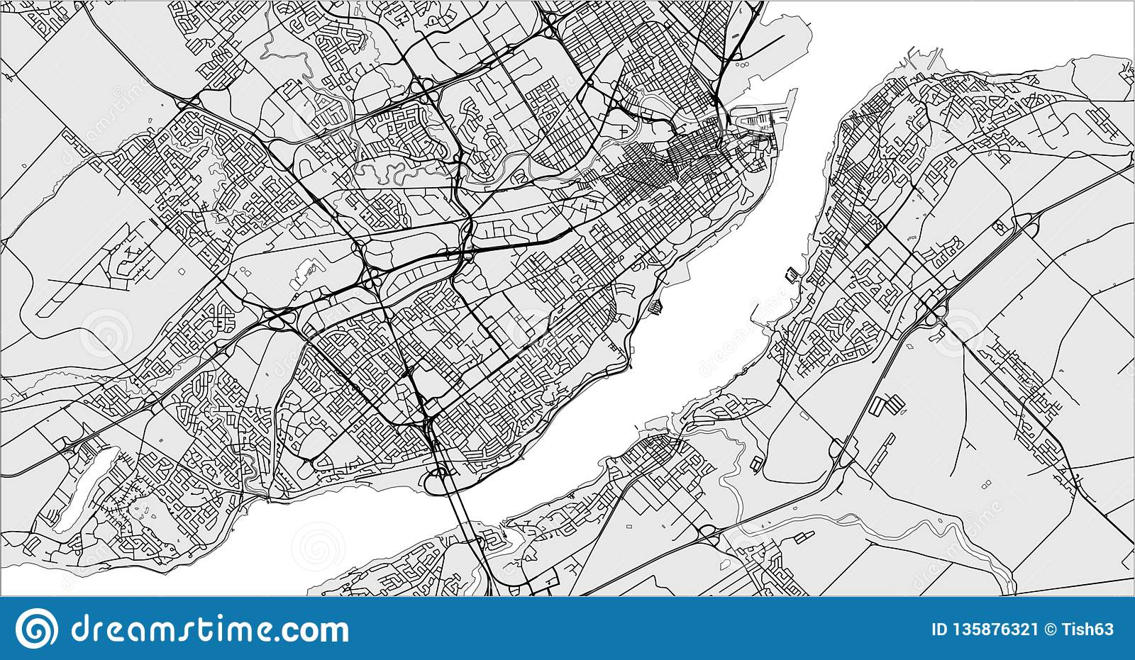 Map Of The City Of Quebec, Canada Stock Illustration - Illustration Quebec City Canada Map on