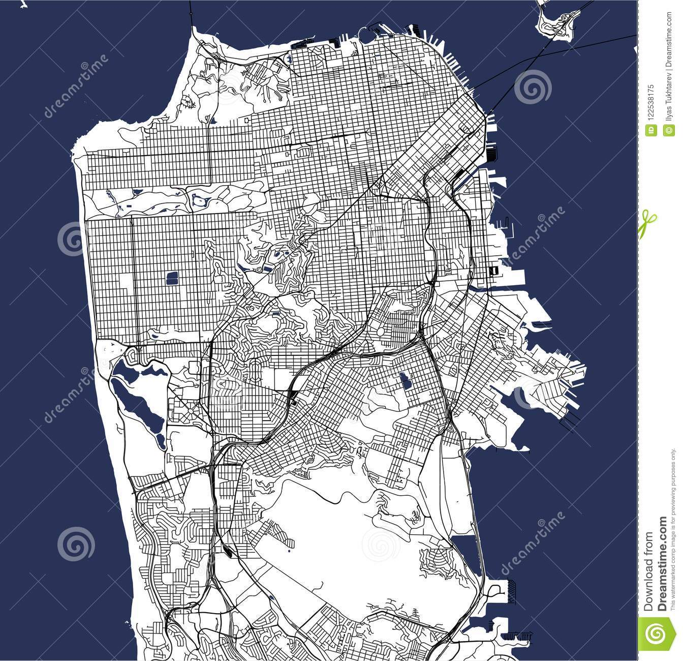 Map Of The City Of San Francisco, USA Stock Illustration ...