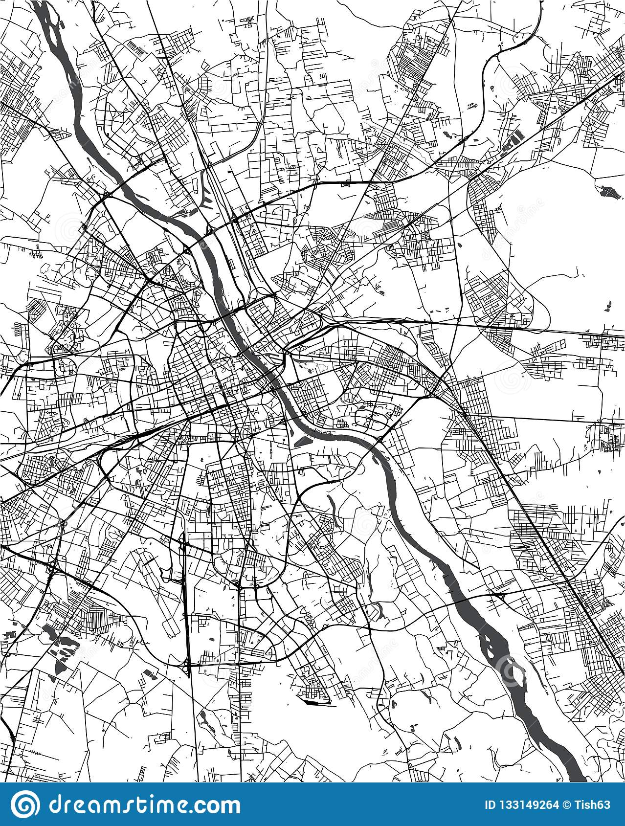 Map Of The City Of Warsaw, Poland Stock Illustration - Illustration ...