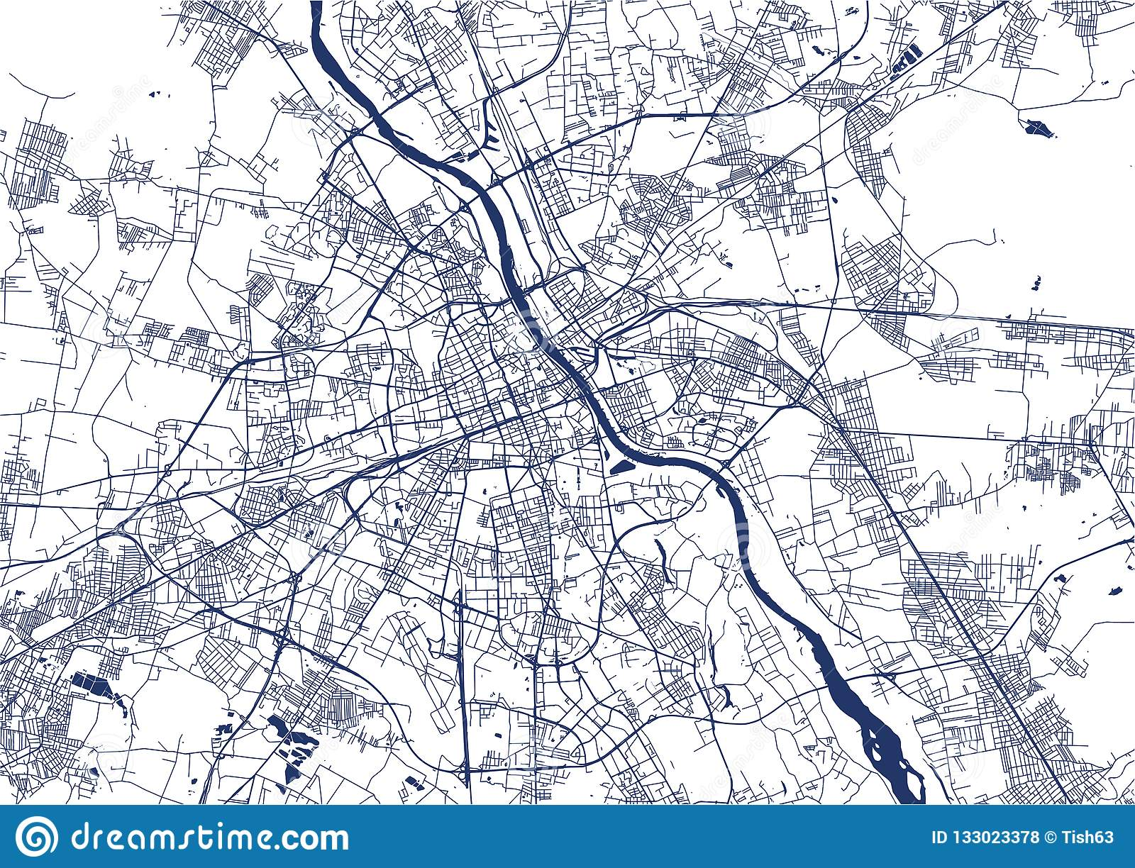 Map of the city of Warsaw, Poland