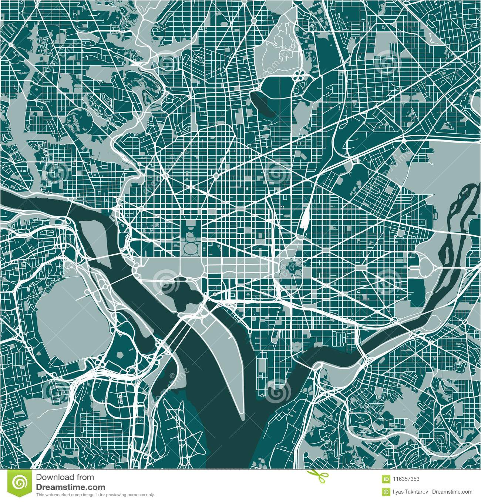 Map Of The City Of Washington, D.C., USA Stock Vector ...