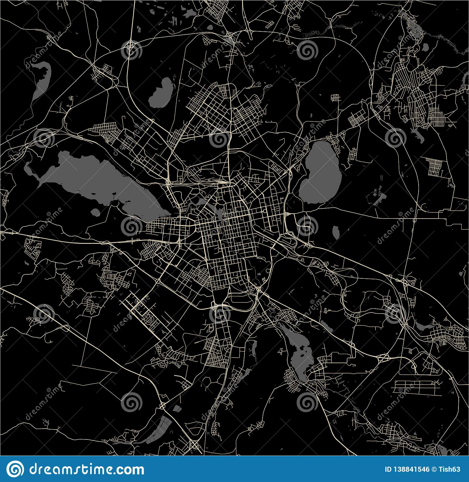 Map Of The City Of Yekaterinburg Russia Stock Vector Illustration