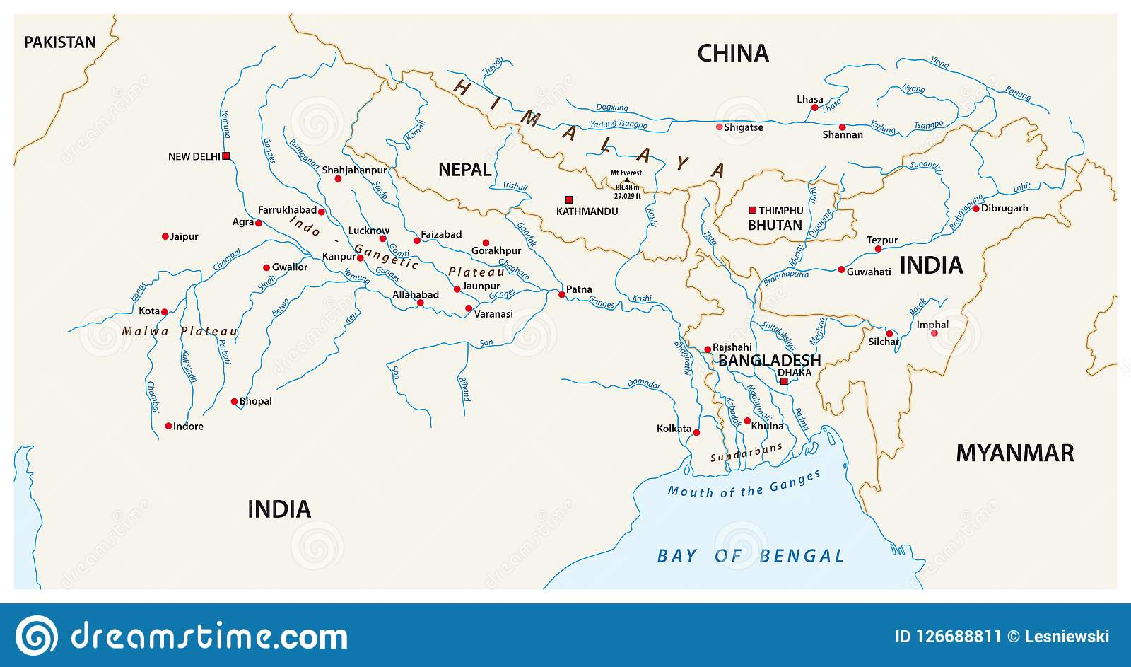 Vector Map Of The Combined Catchment Areas Of The Ganges