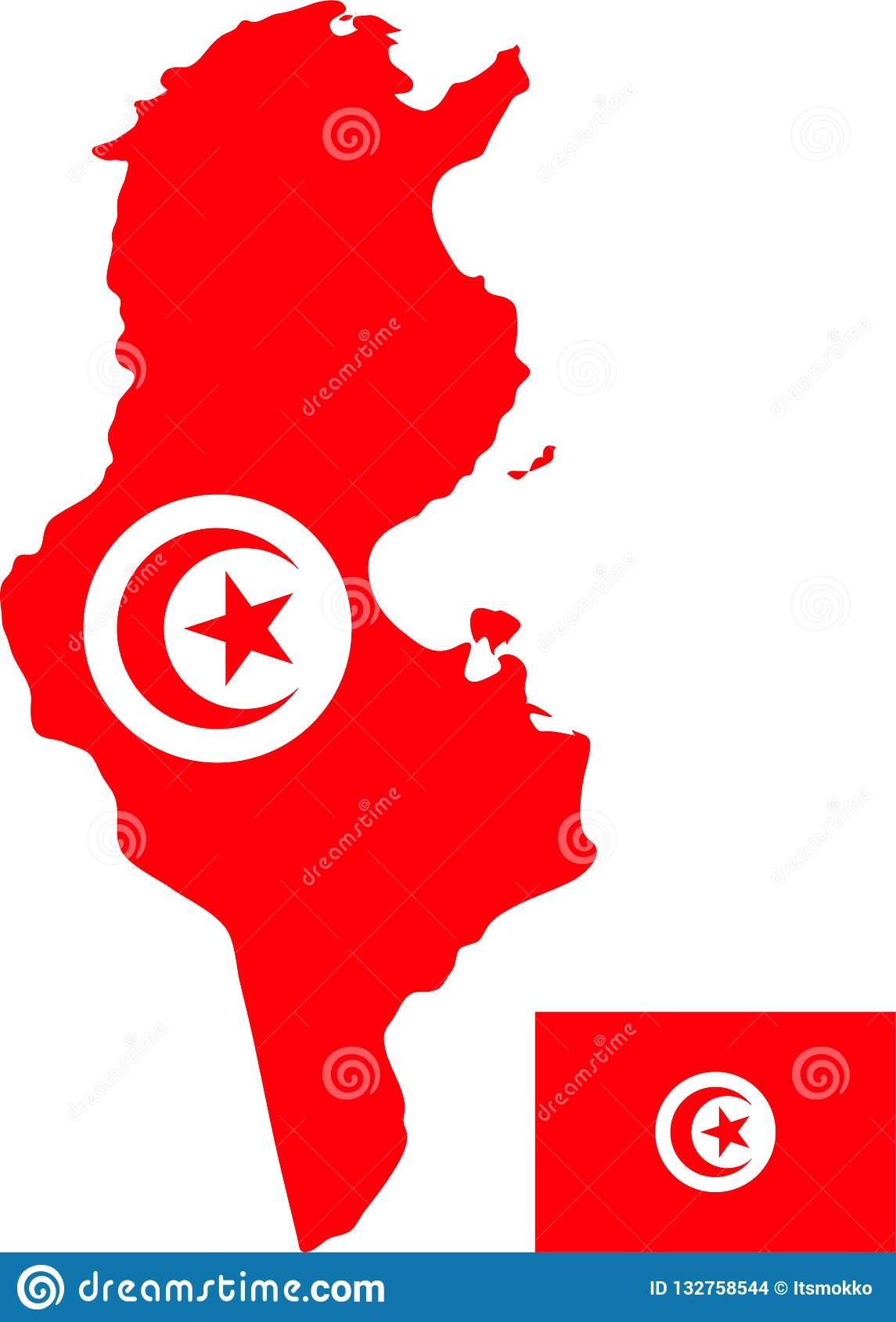 Vector Map Of Tunisia With Flag Isolated White Background