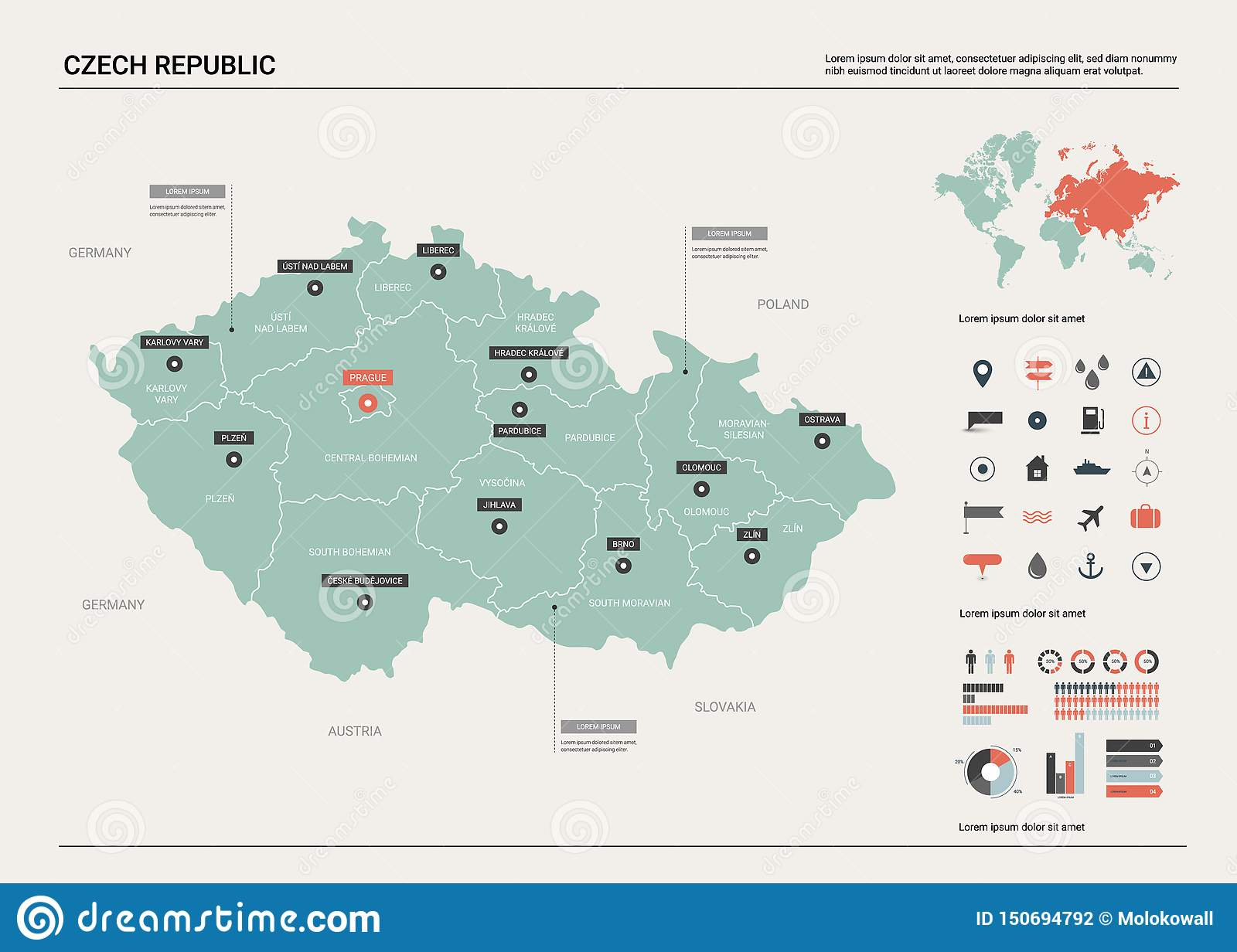 Vector Map Of Czech Republic. Stock Vector - Illustration of ...