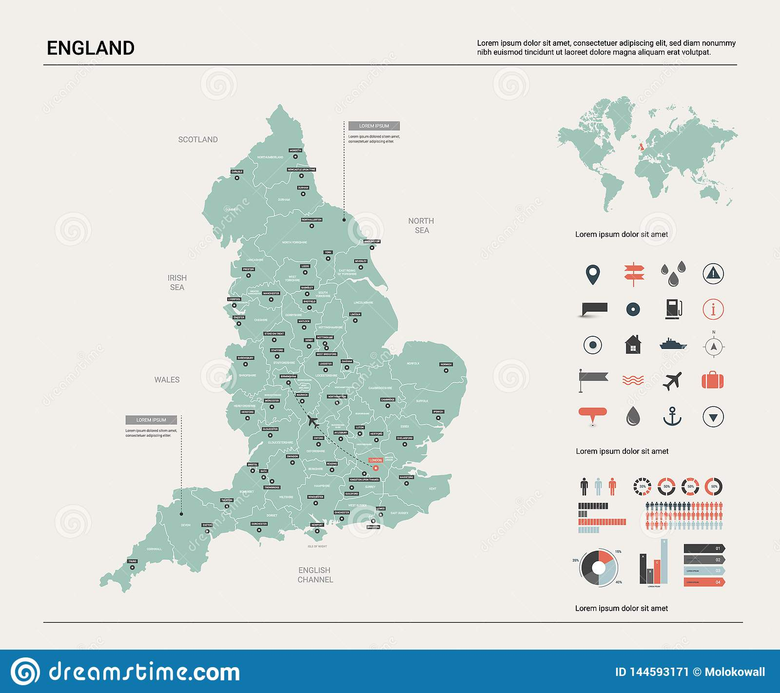 Map Of England Showing Cities.Vector Map Of England High Detailed Country Map With Division