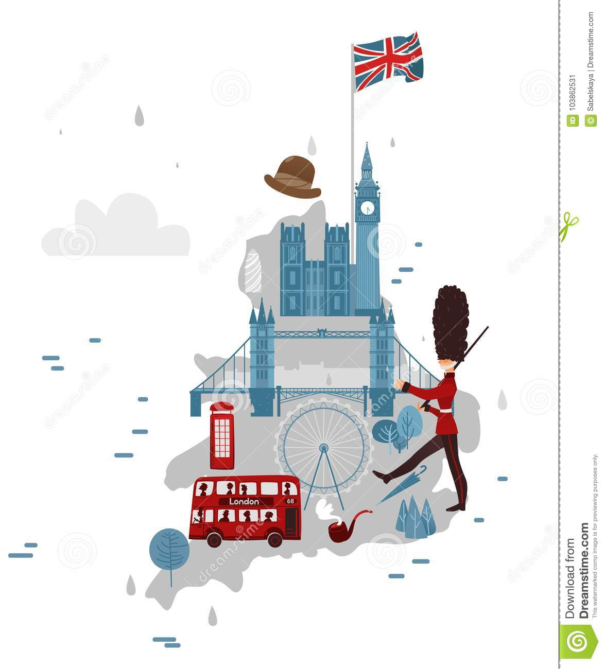 Big Map Of England.Vector Map Of England And Symbols Stock Vector Illustration Of