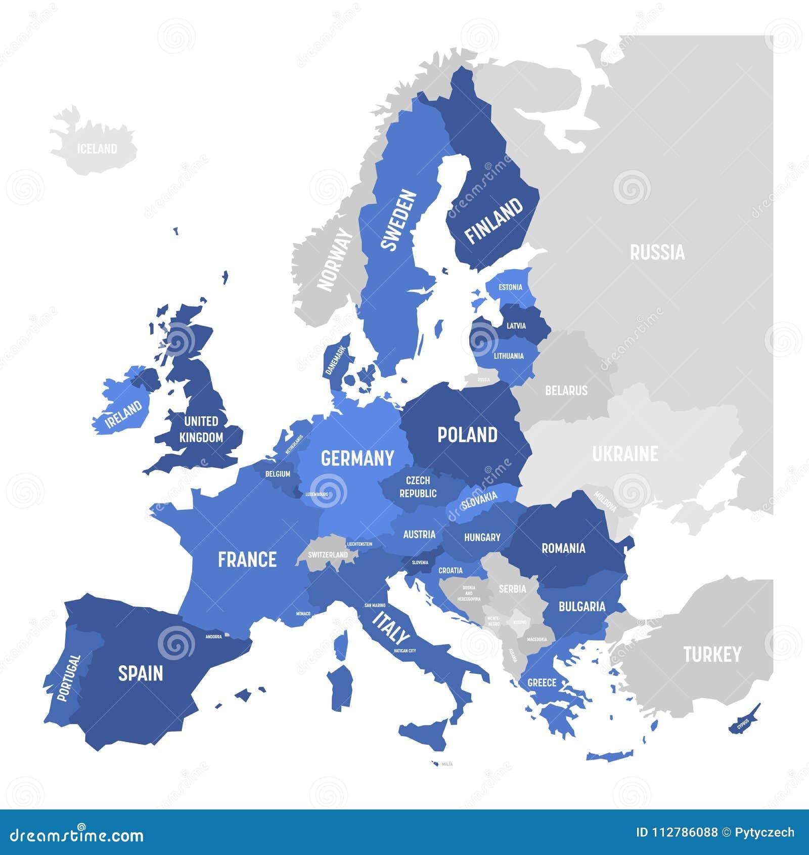 Vector Map Of EU, European Union. Stock Vector - Illustration of ...