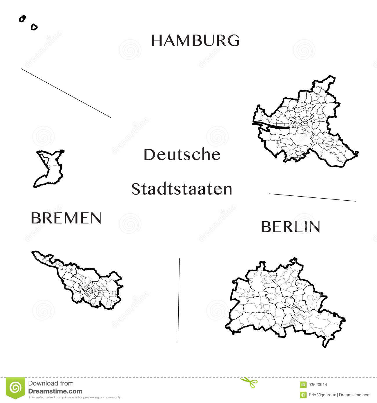 Vector Map Of The Federal City States Of Berlin Hamburg And Bremen
