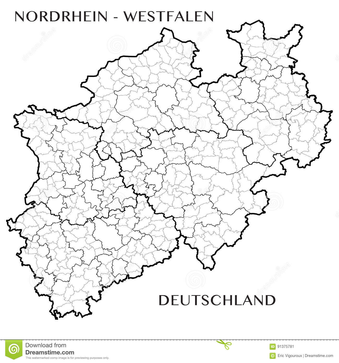 Vector Map Of The Federal State Of North Rhine Westphalia Germany