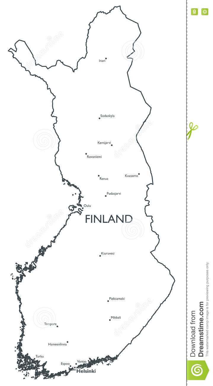 Vector map of Finland stock vector Illustration of rovaniemi 81485201