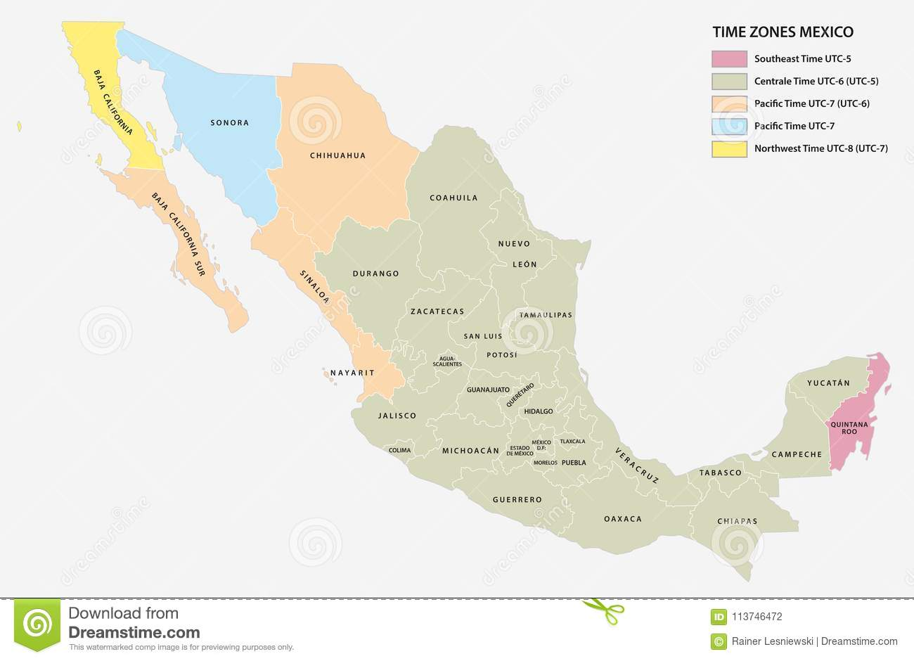 Vector Map Of The Five Time Zones Of The North American State Of ...