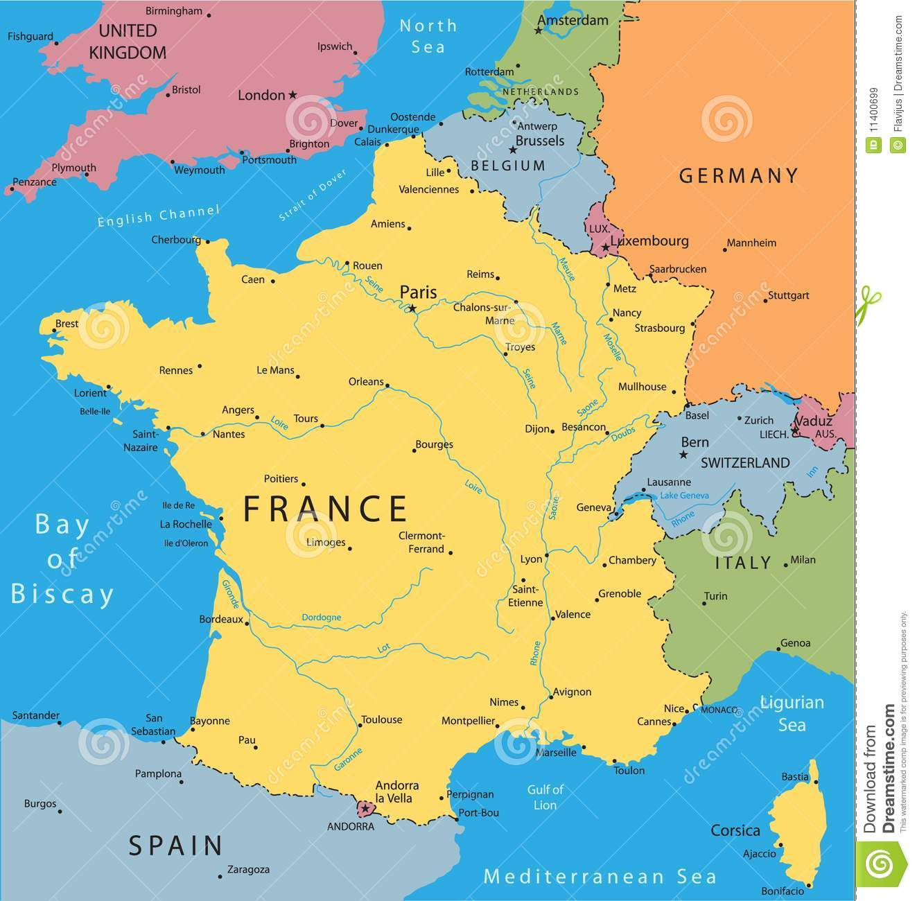 Vector Map Of France Stock Vector Illustration Of Stylized - Major cities in france