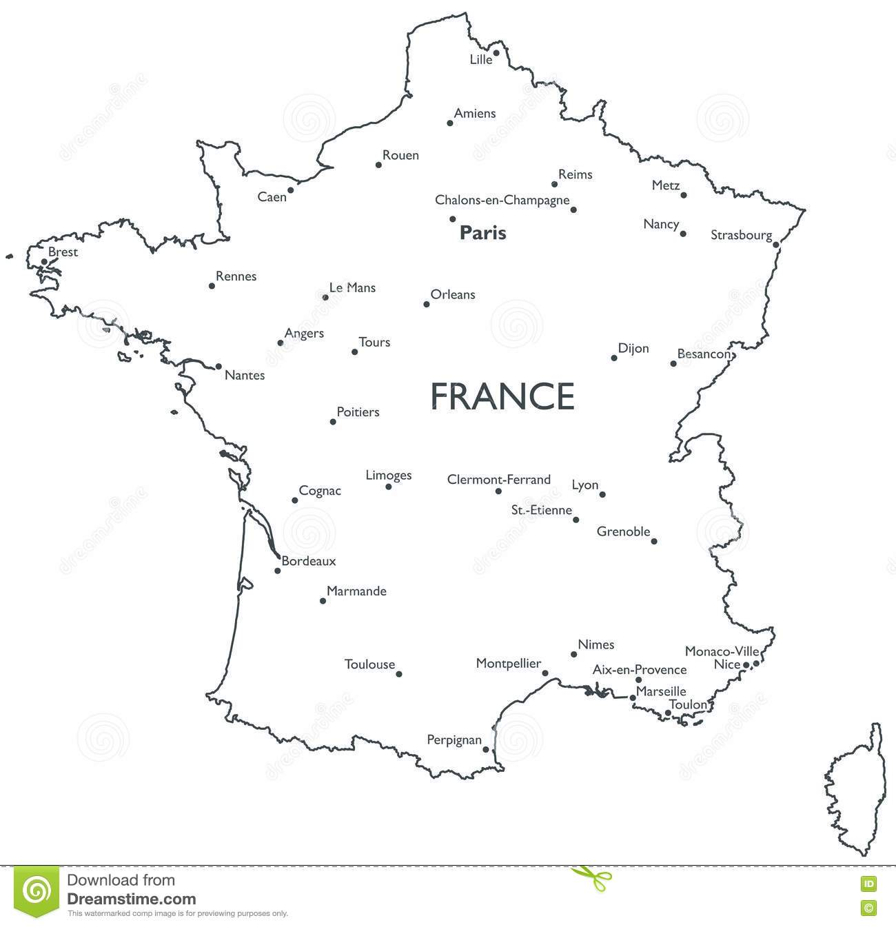Map Of France With City Names.Vector Map Of France Stock Vector Illustration Of Monochrome 81487298