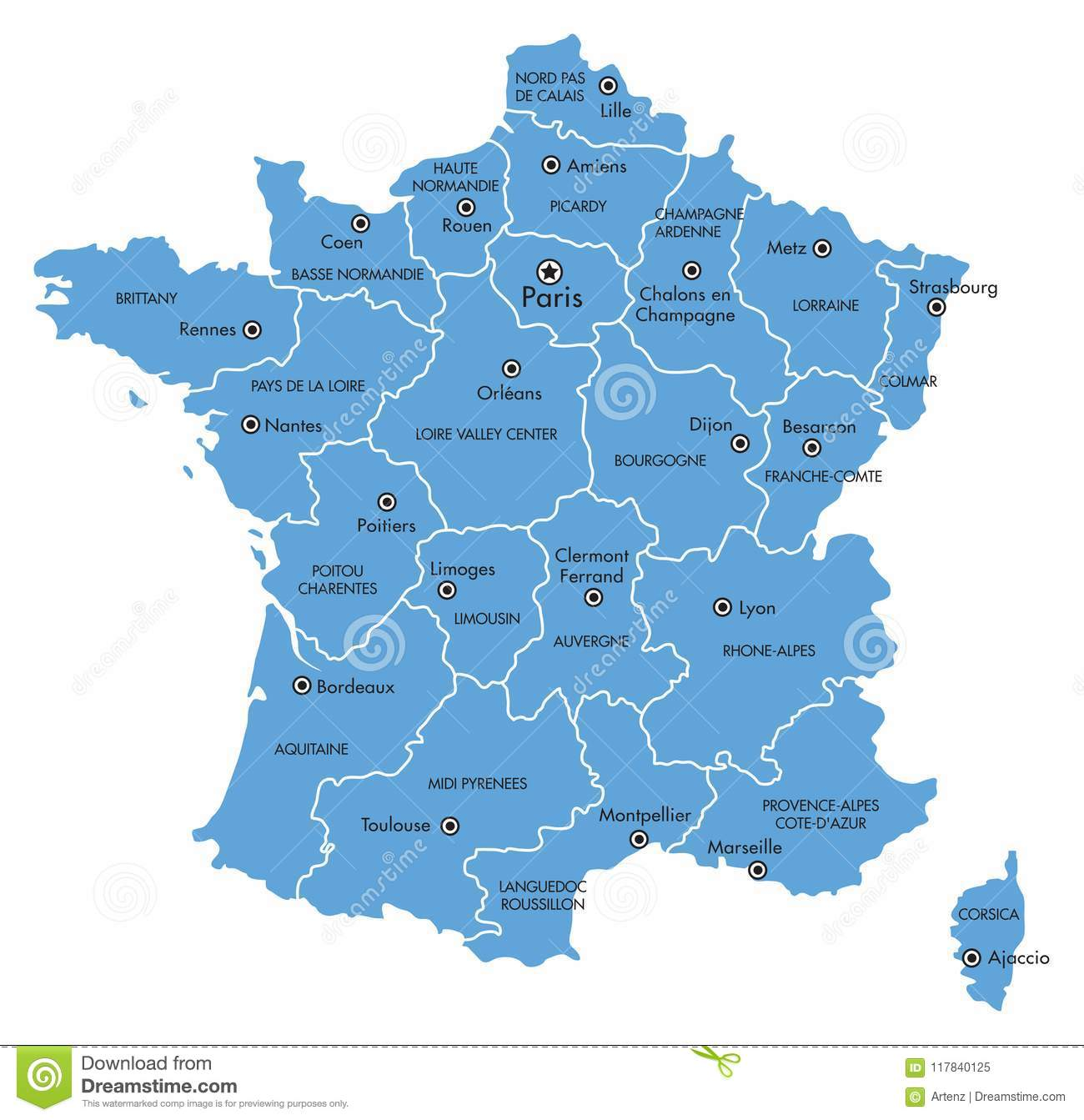 Map Of France Toulouse.Vector Map Of France With Provinces And Major Cities Stock Vector