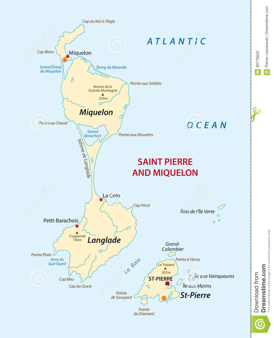 Vector Map Of The French Island Saint Pierre And Miquelon Stock - Saint pierre and miquelon map