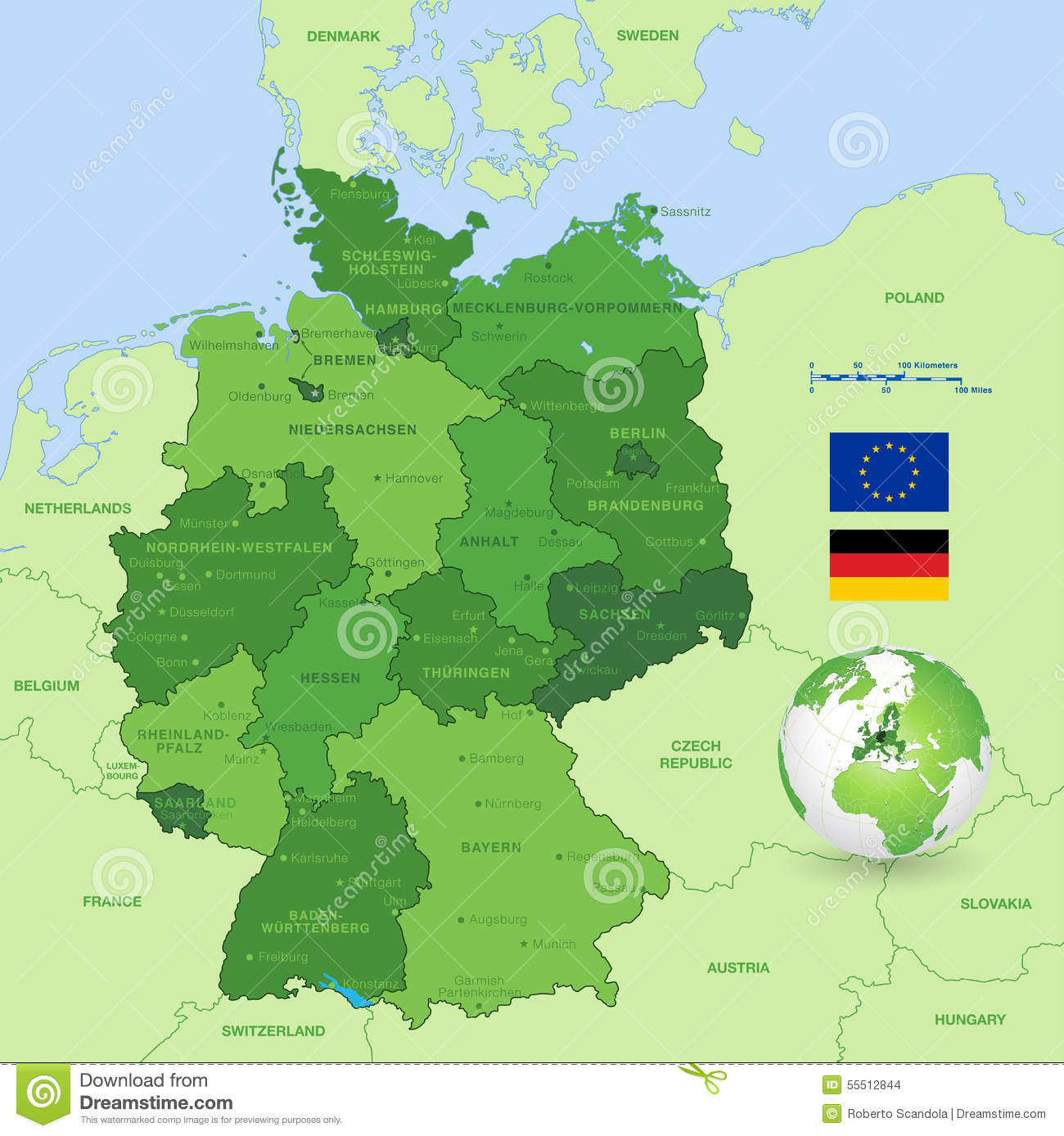 Vector Map Of Germany Stock Vector Illustration Of Computer 55512844