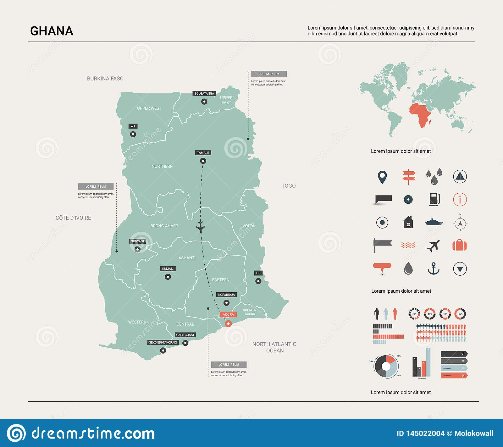 Vector Map Of Ghana. High Detailed Country Map With Division ...