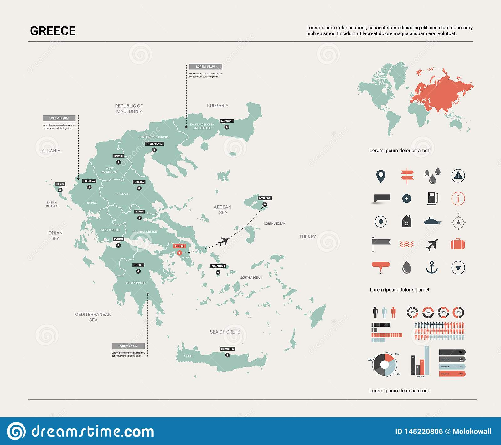Vector Map Of Greece High Detailed Country Map With Division
