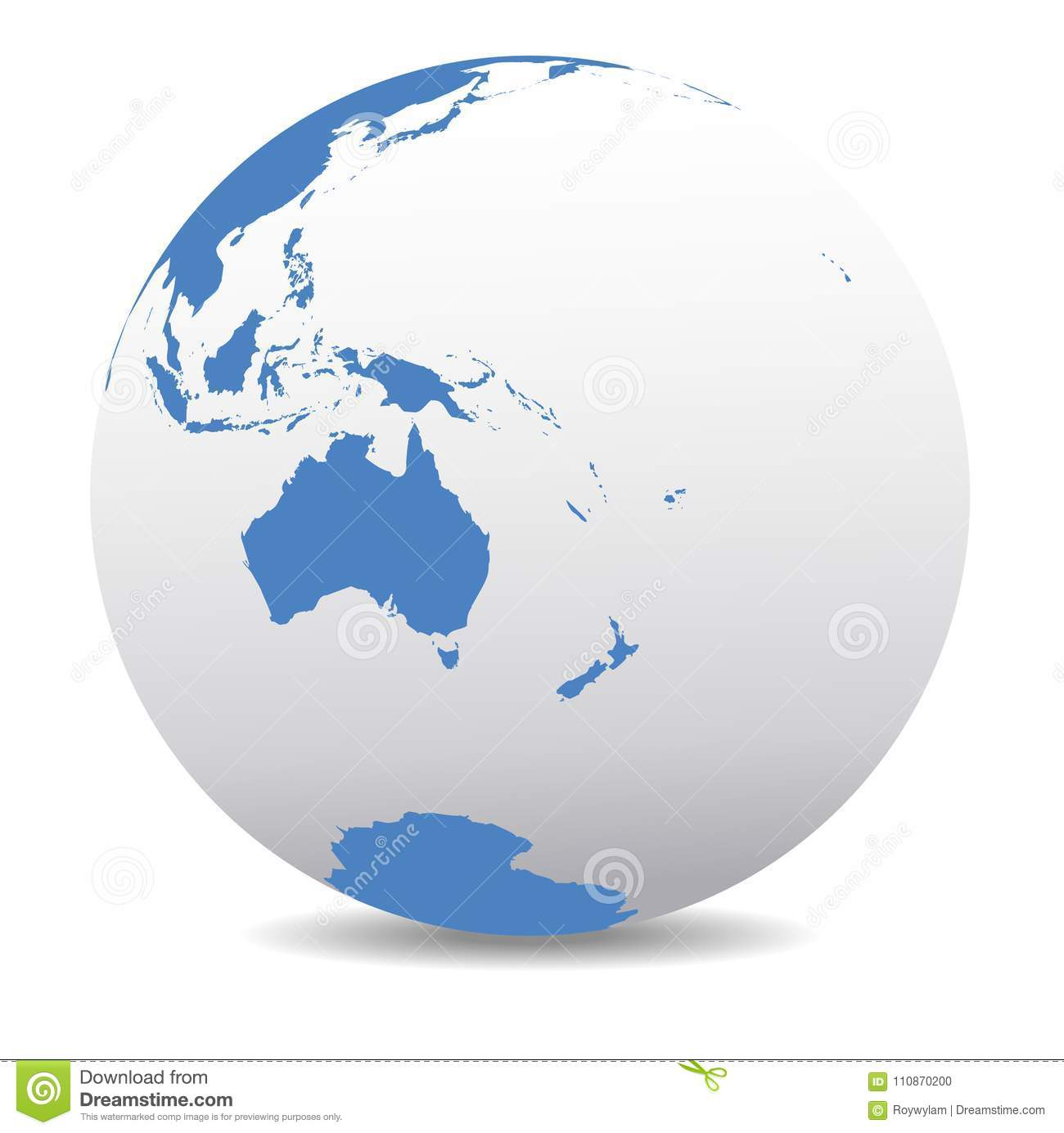 New Zealand Map On World.Australia And New Zealand Earth Planet Global World Stock