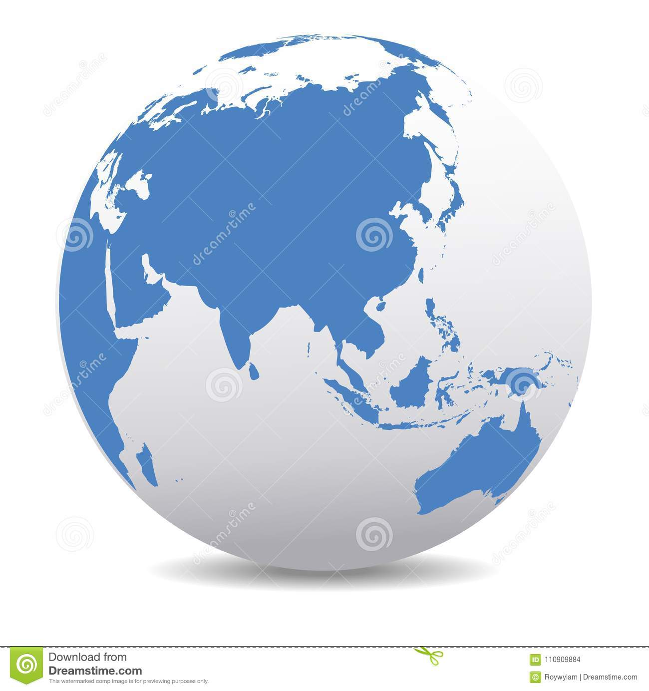 Global World Planet Earth China, Asia India Far East Stock Vector ...
