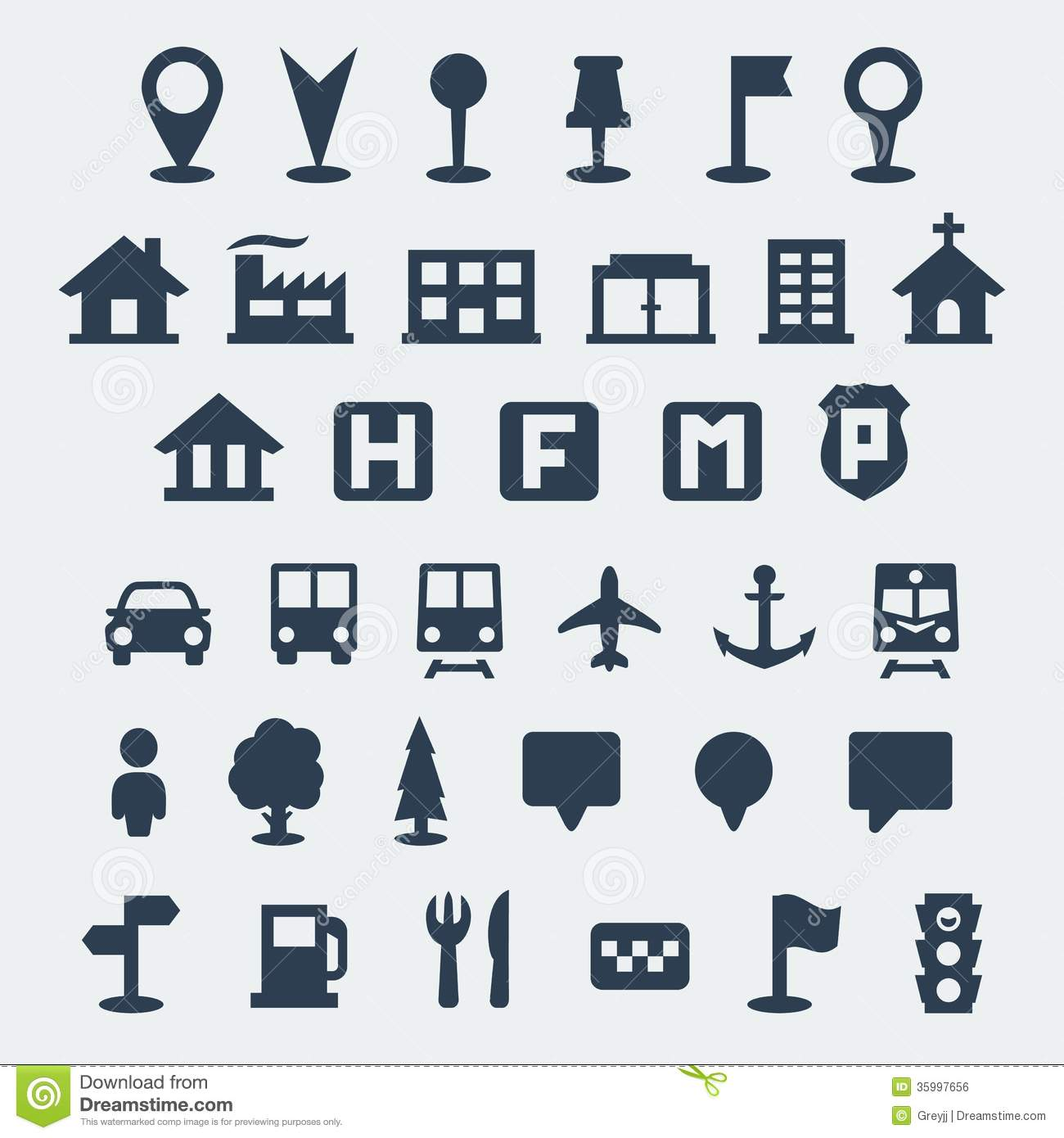 Vector Map Icons Set Royalty Free Stock Image - Image: 35997656
