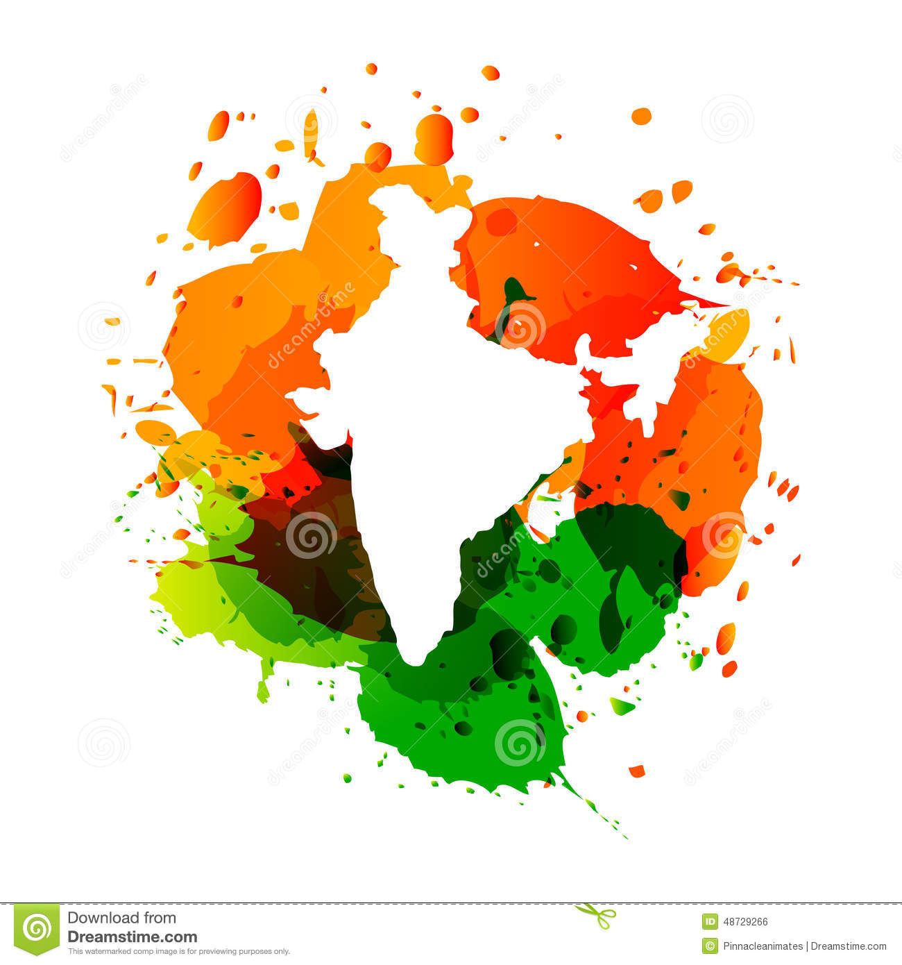 Vector Map Of India With Colorful Ink Splashes Stock Vector - India map vector