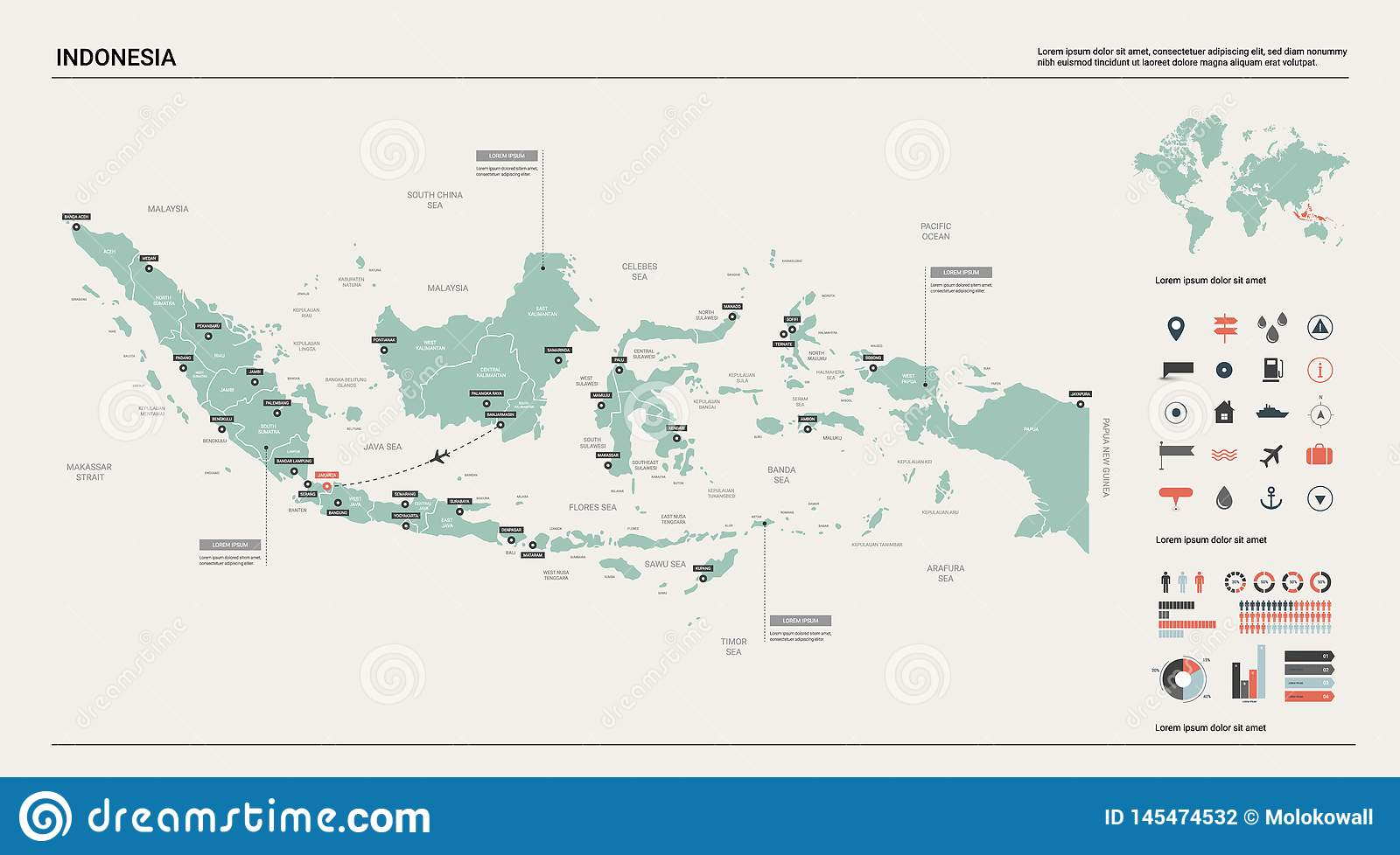 Vector Map Of Indonesia. High Detailed Country Map With ...