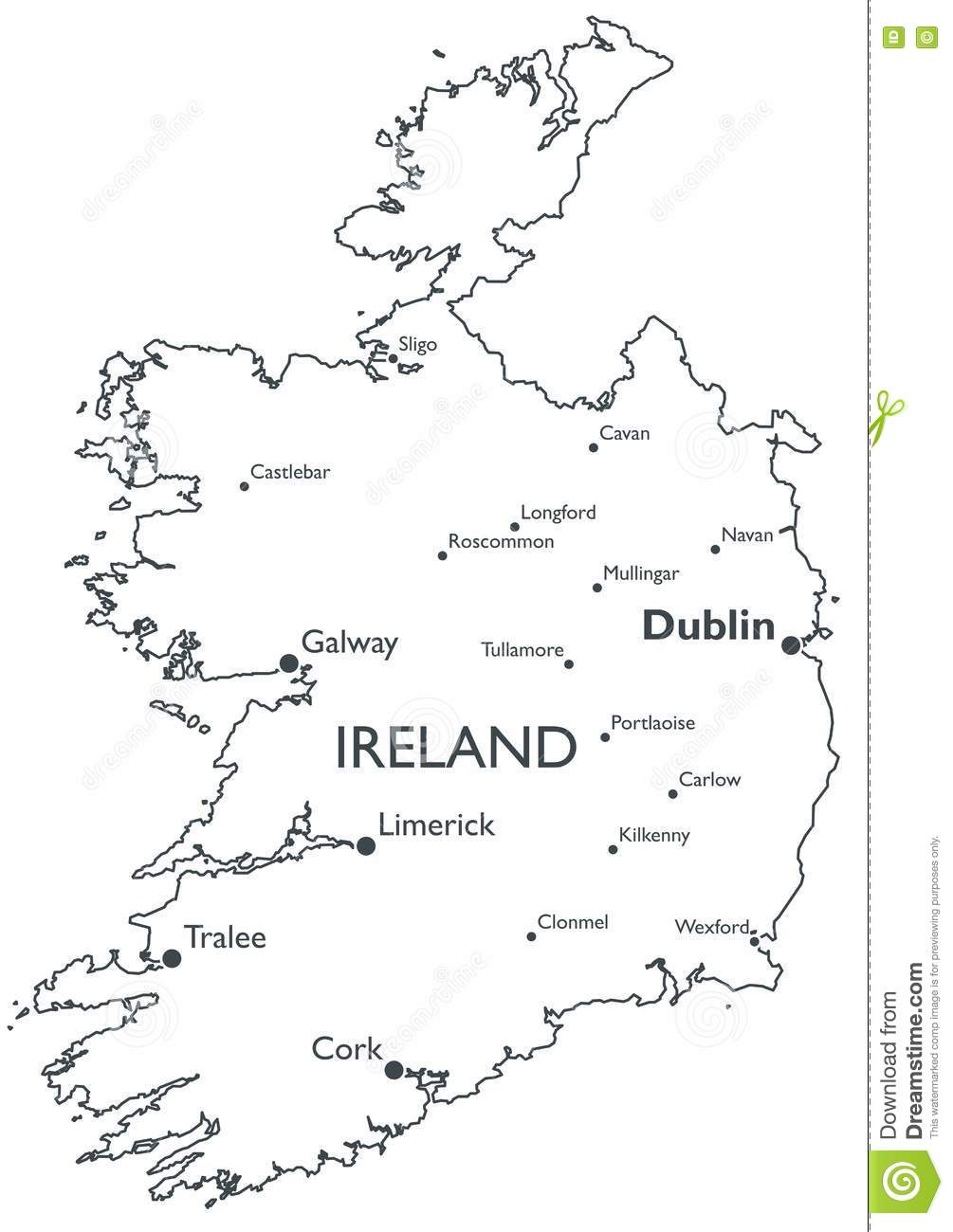 Map Of Ireland Vector.Vector Map Of Ireland Stock Vector Illustration Of White 81489052