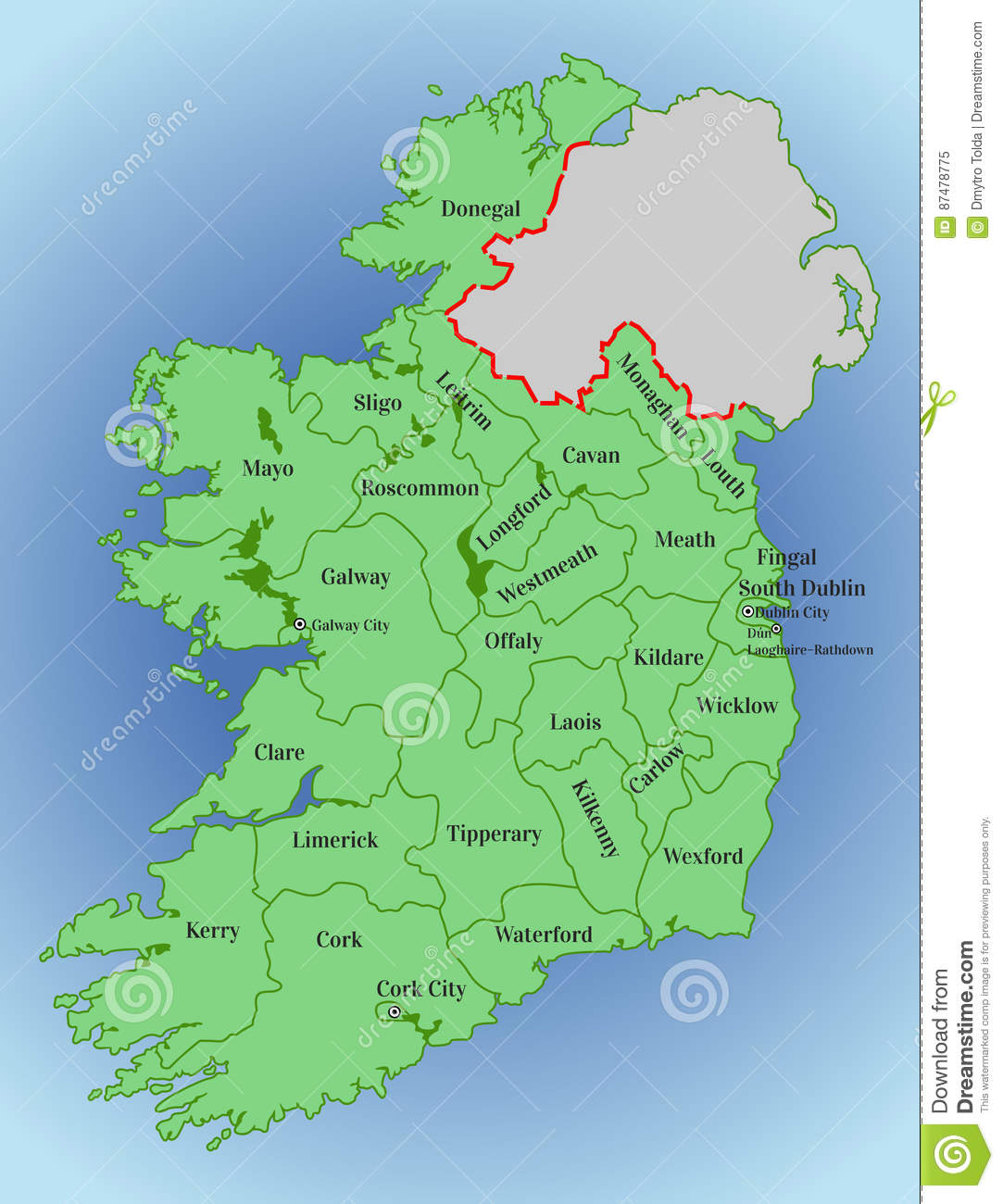 Vector Map Of Ireland. Republic Of Ireland. Map Of Ireland With The ...