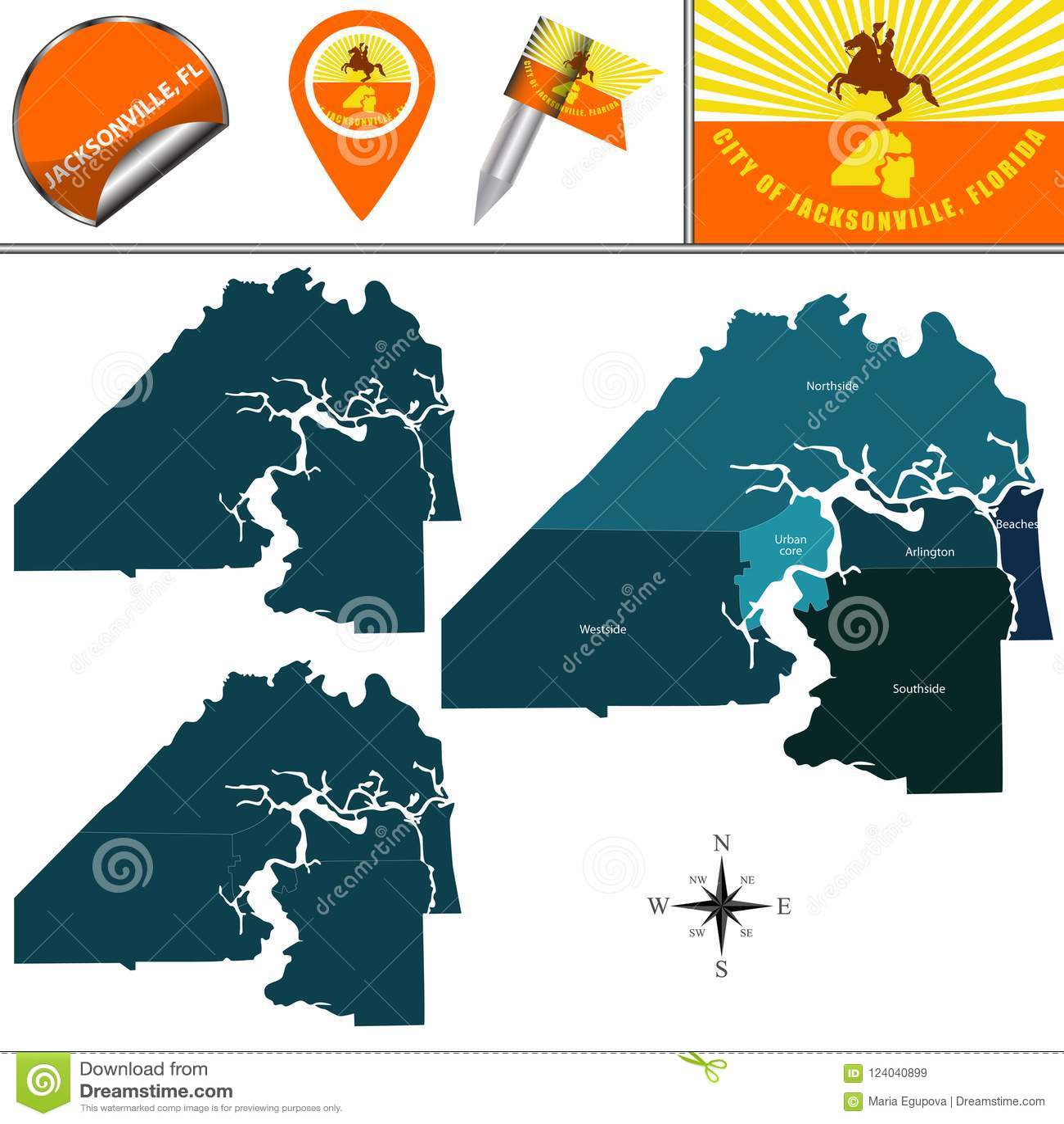 Map Jacksonville Florida.Map Of Jacksonville Fl With Neighborhoods Stock Vector