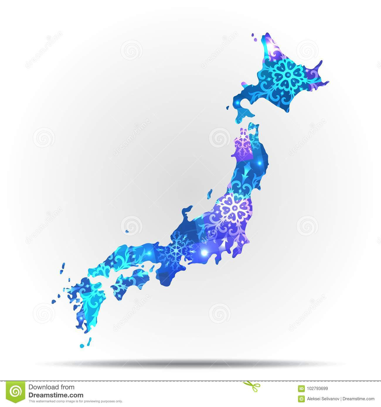 Vector map Japan with snowflakes. Winter illustration for your design.
