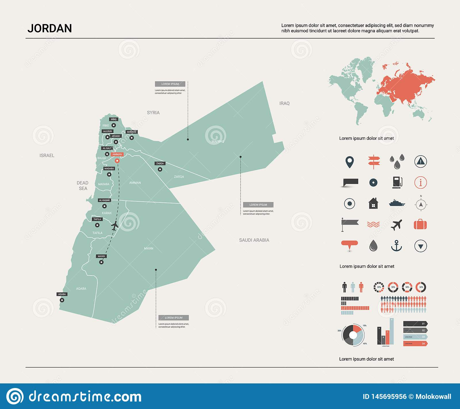 Vector Map Of Jordan. High Detailed Country Map With Division ...