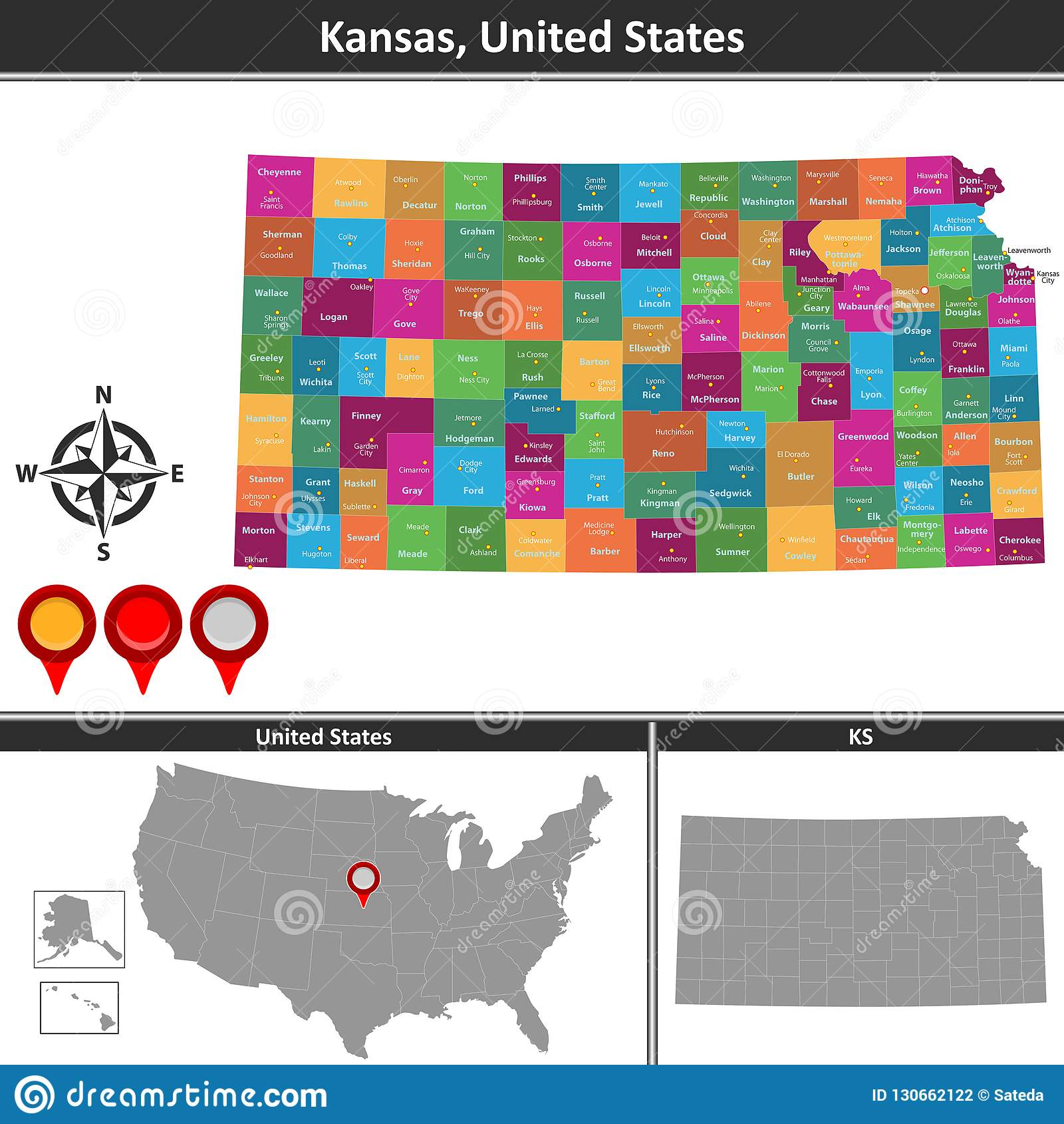 Map of Kansas, US stock vector. Illustration of button - 130662122