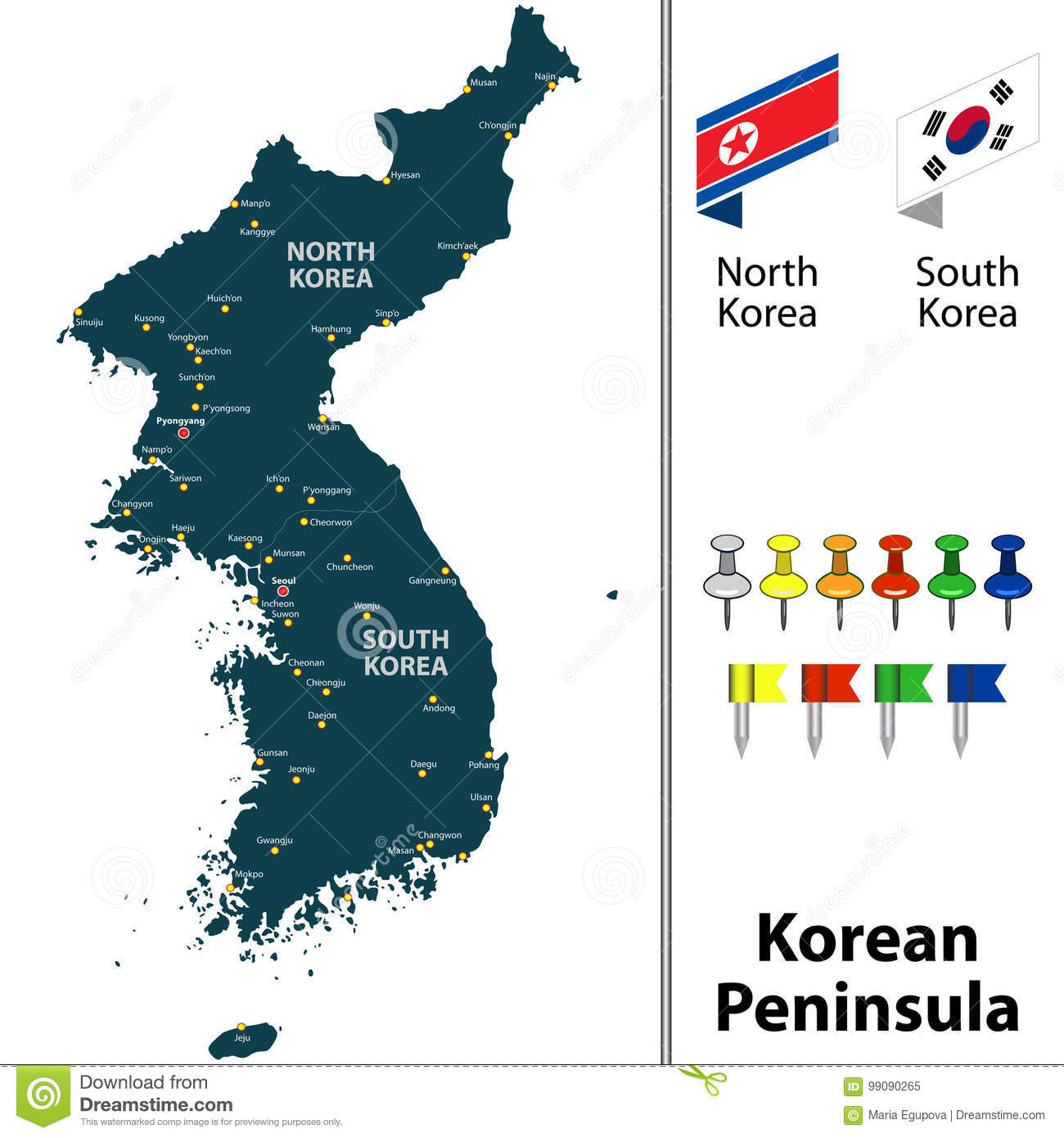 Map of Korean Peninsula stock vector. Illustration of north - 99090265