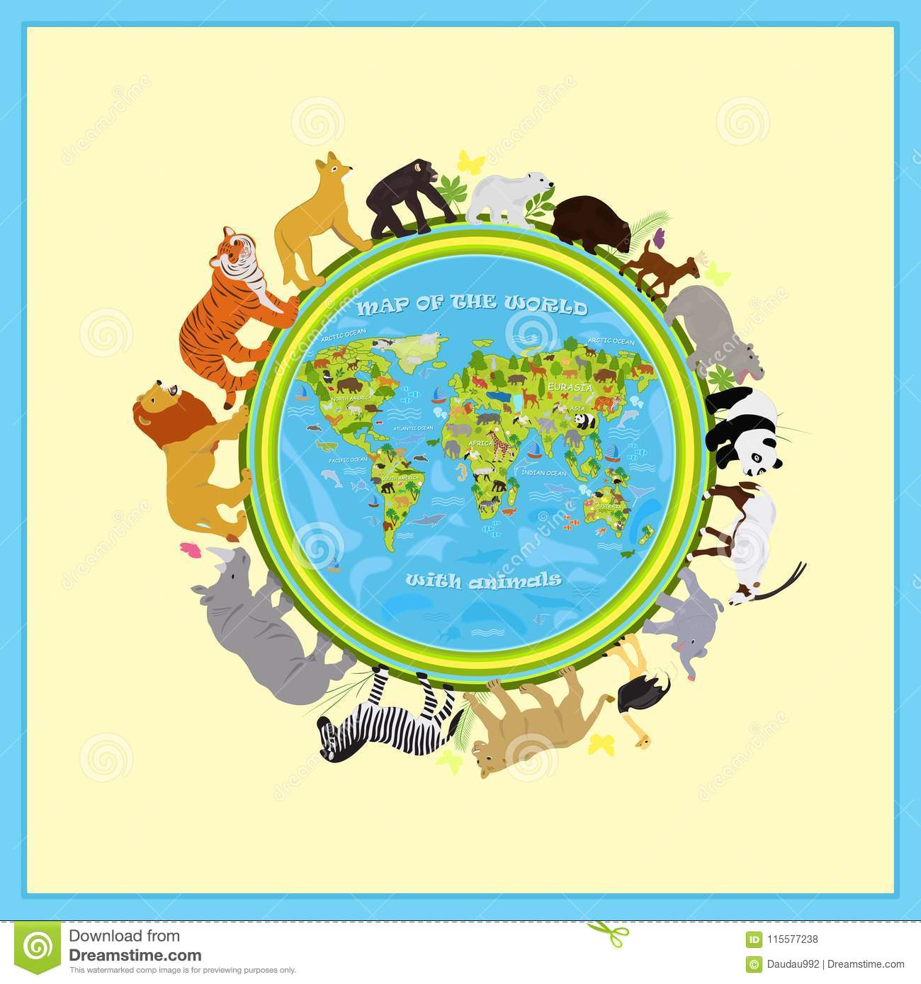 Vector map of land with animals around the planet stock vector download vector map of land with animals around the planet stock vector illustration of funny gumiabroncs Choice Image