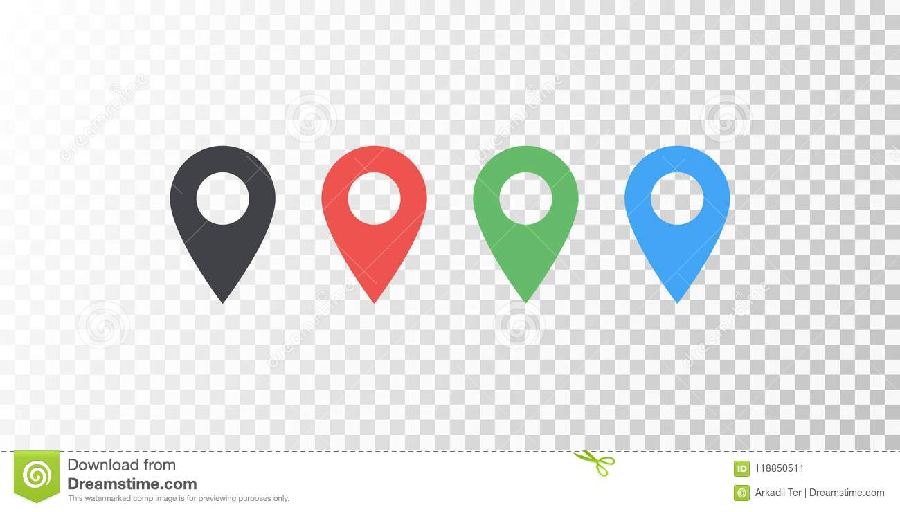 Vector Map Location Colorful Icon Isolated On Transparent
