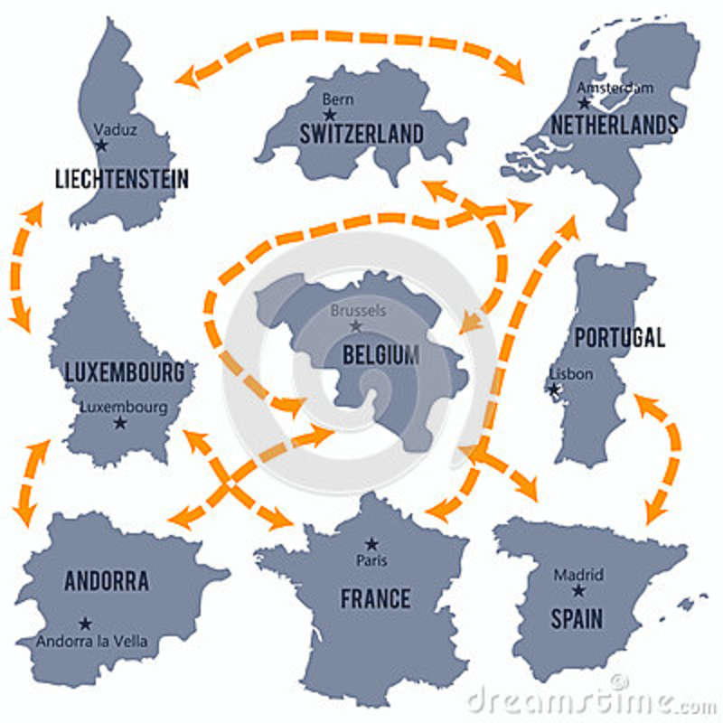 Vector Map Of Luxembourg, Belgium, France, The Netherlands, Portugal ...