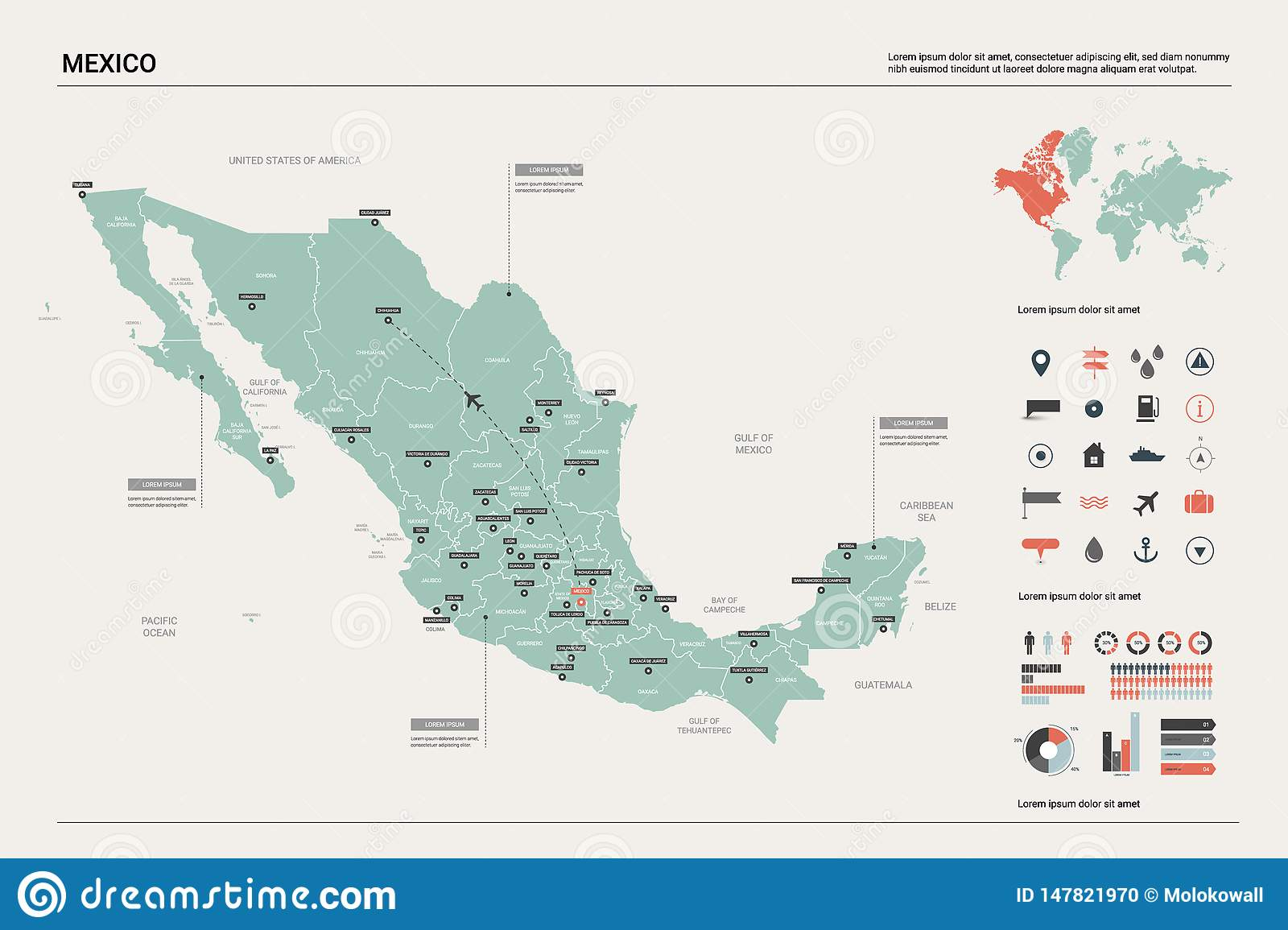 Picture of: Vector Map Of Mexico Stock Vector Illustration Of Flat 147821970