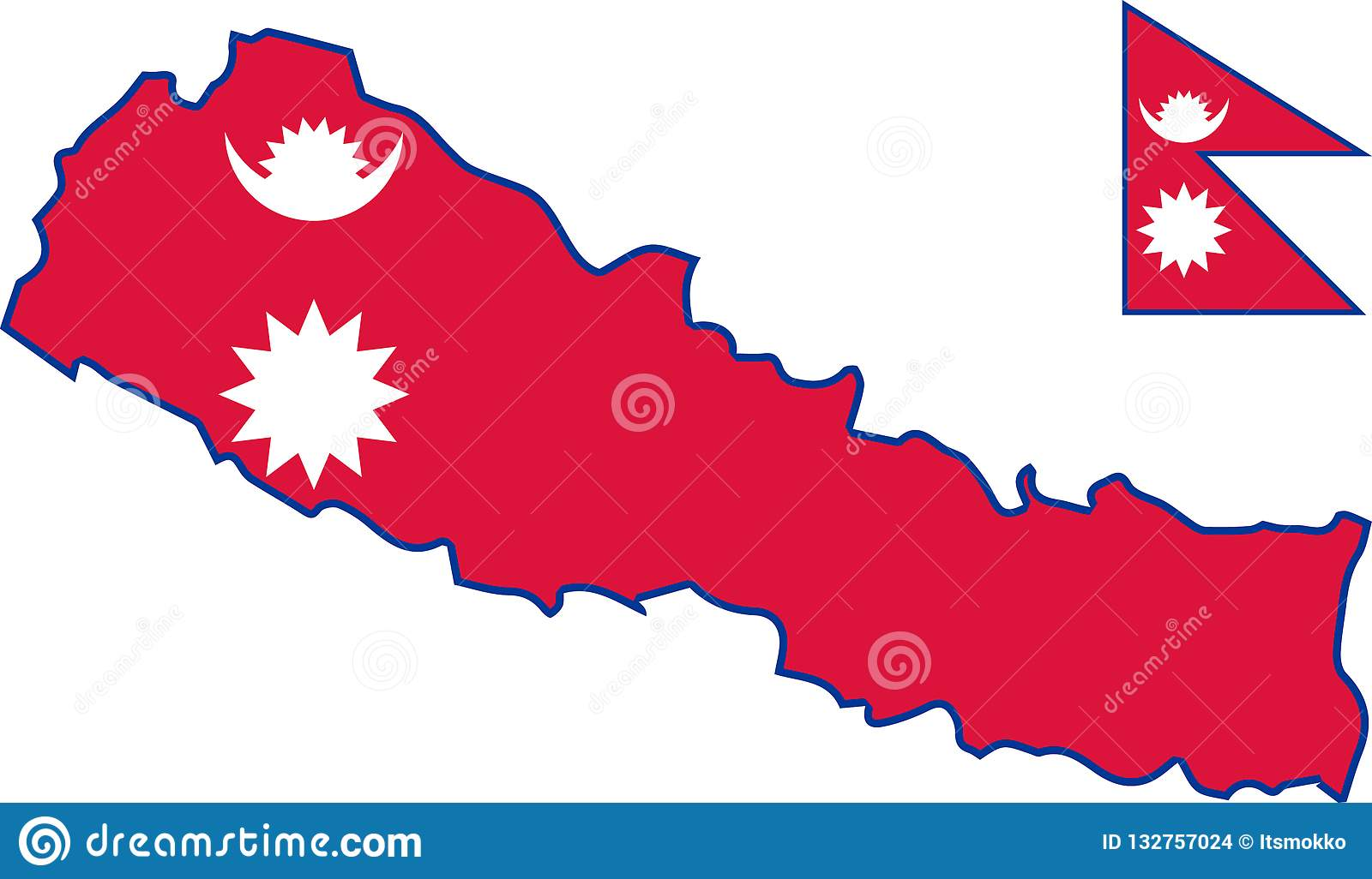Vector Map Of Nepal With Flag. Isolated, White Background ...