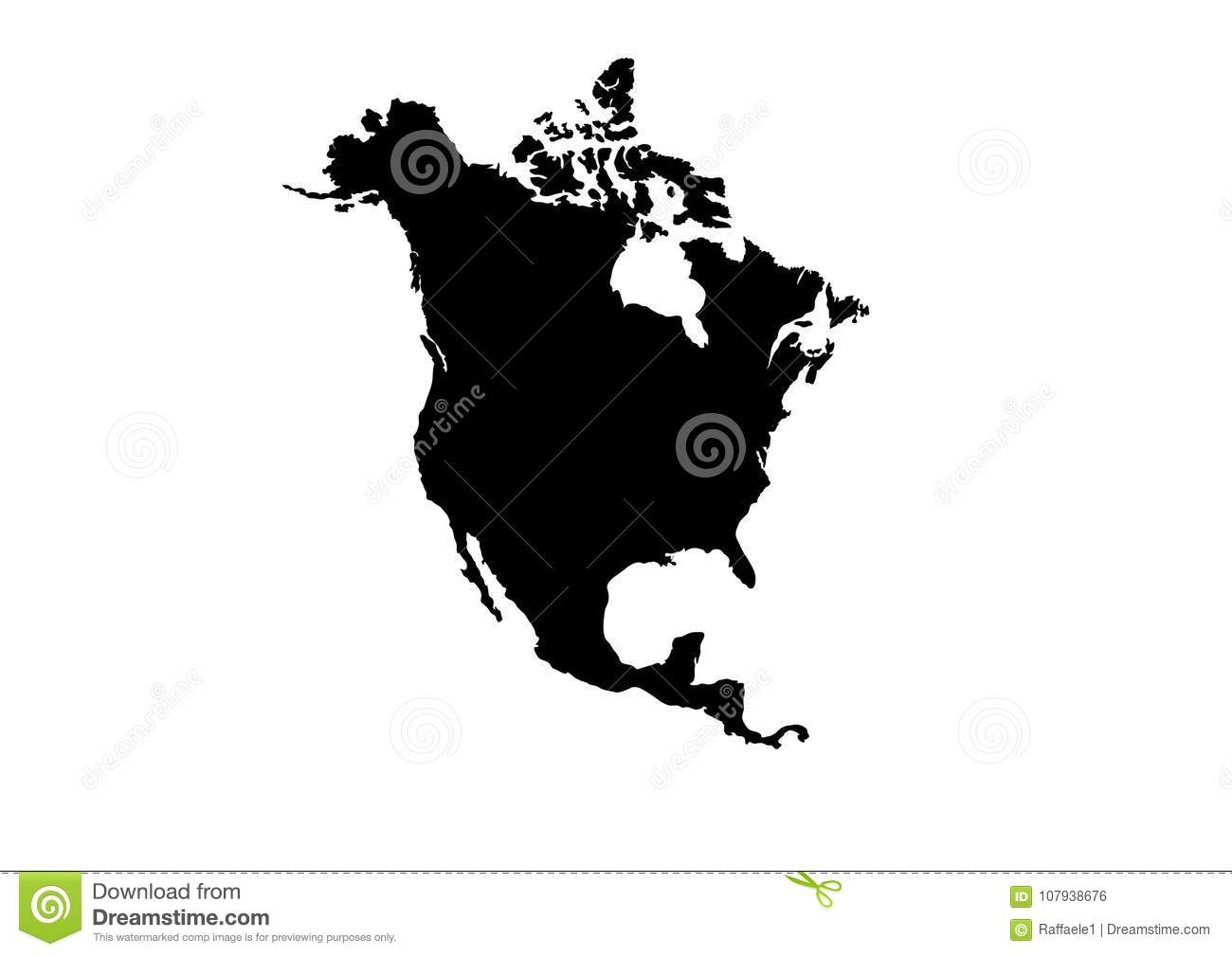 American Map Vector.North America Map Vector Silhouette Stock Vector Illustration Of