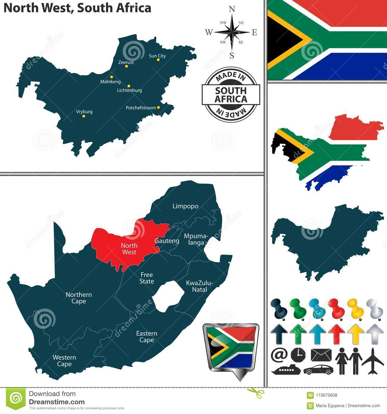 Map Of North West, South Africa Stock Vector   Illustration of
