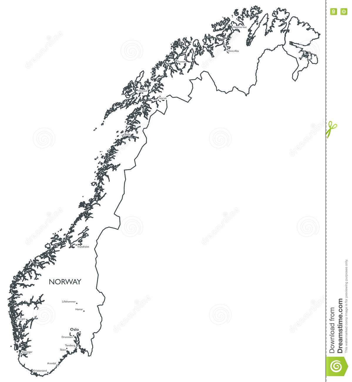 Vector map of Norway stock vector Illustration of lillehammer