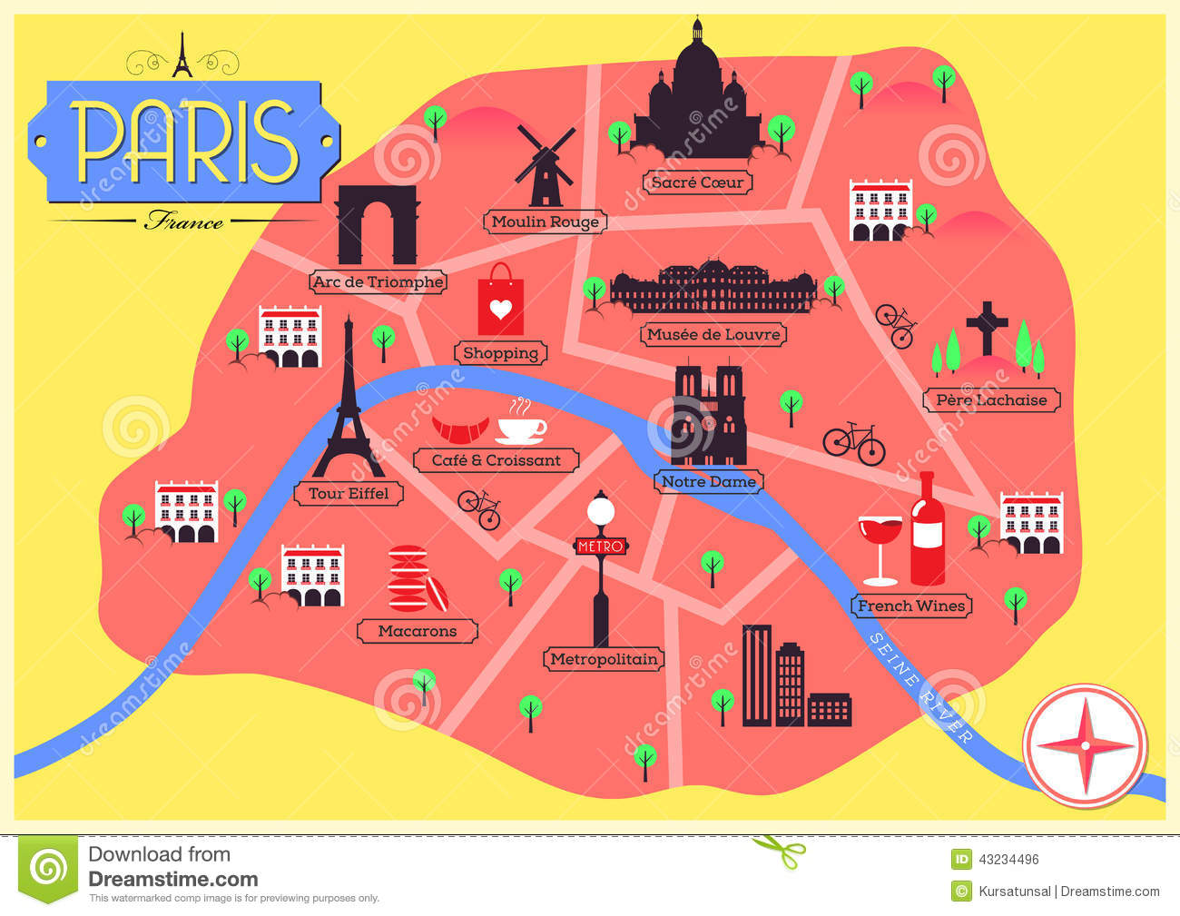 Maps Of Paris France Vector Map Of Paris, France Stock Vector   Illustration of pere