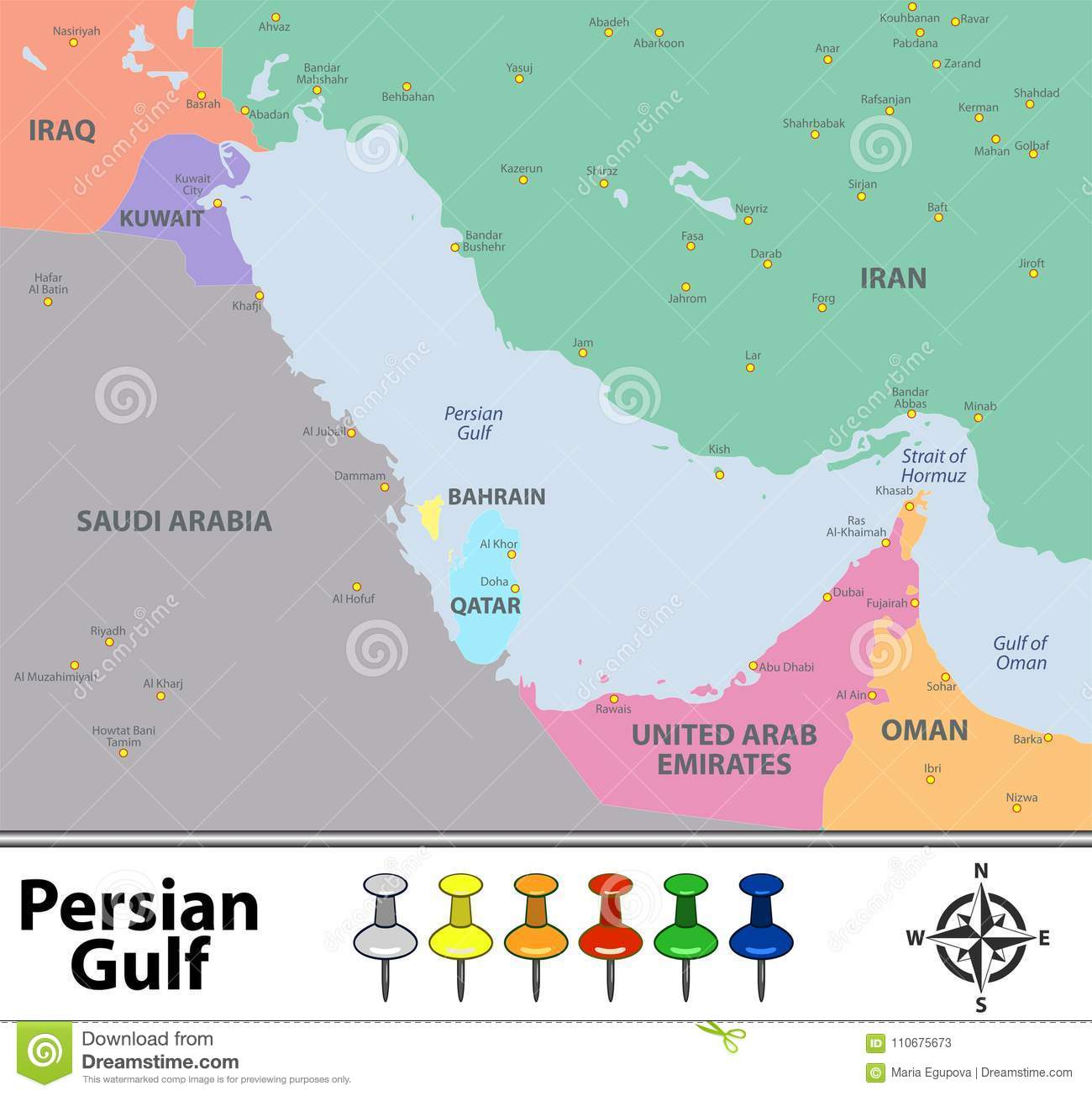 Map of Persian Gulf stock vector. Illustration of world - 110675673