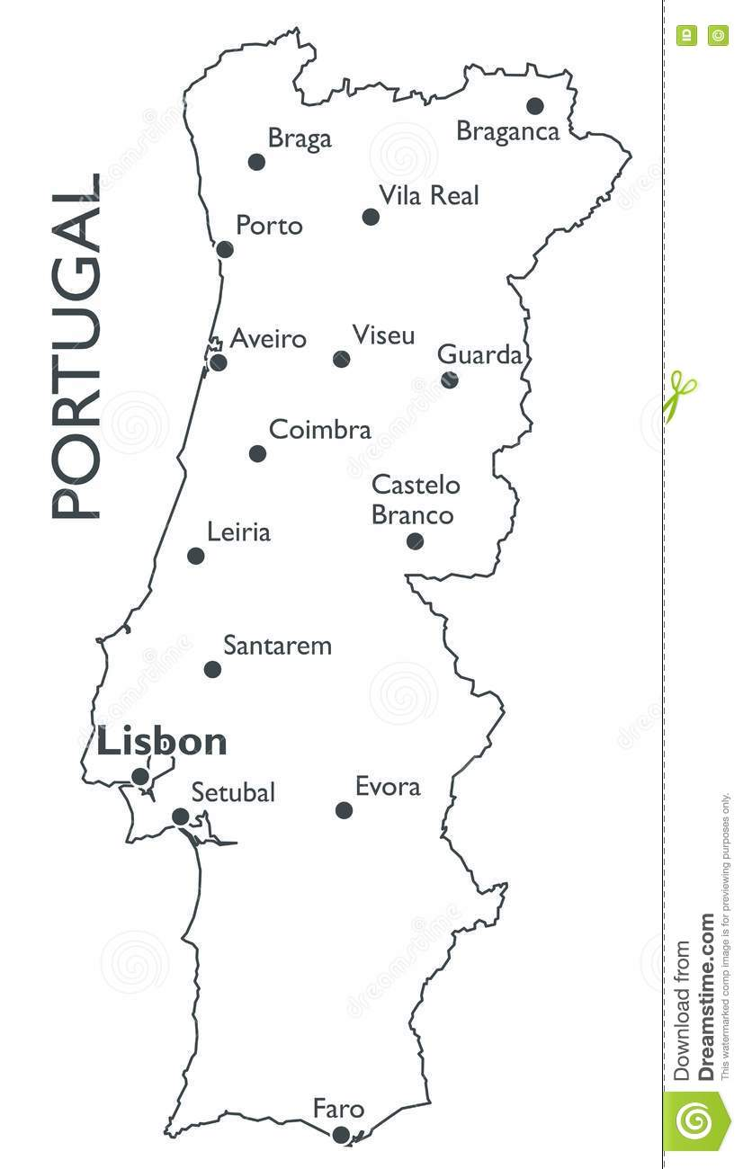 Vector Map Of Portugal Stock Vector Image - Portugal map viseu