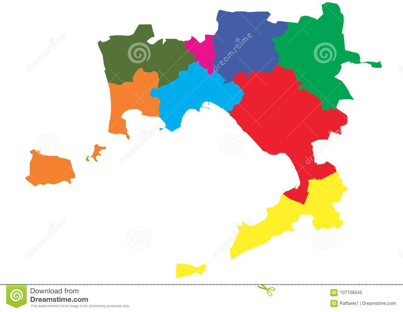 Areas Of Italy Map.Vector Map Of The Province Of Naples Divided By Areas Stock Vector