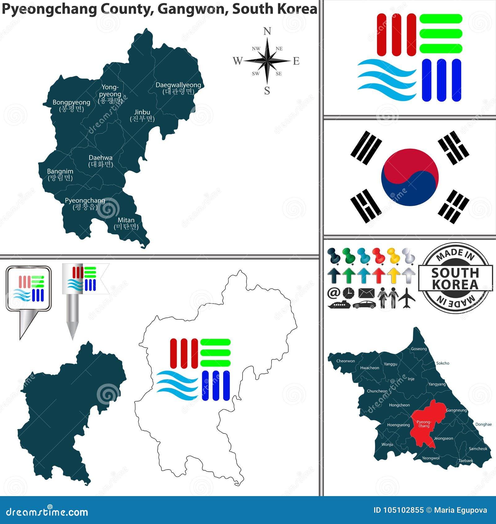 Pyeongchang County In Gangwon South Korea Stock Vector