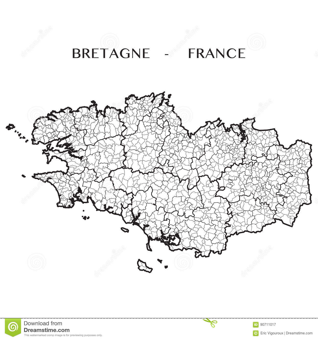 Brittany On Map Of France.Vector Map Of The Region Of Brittany France Stock Vector